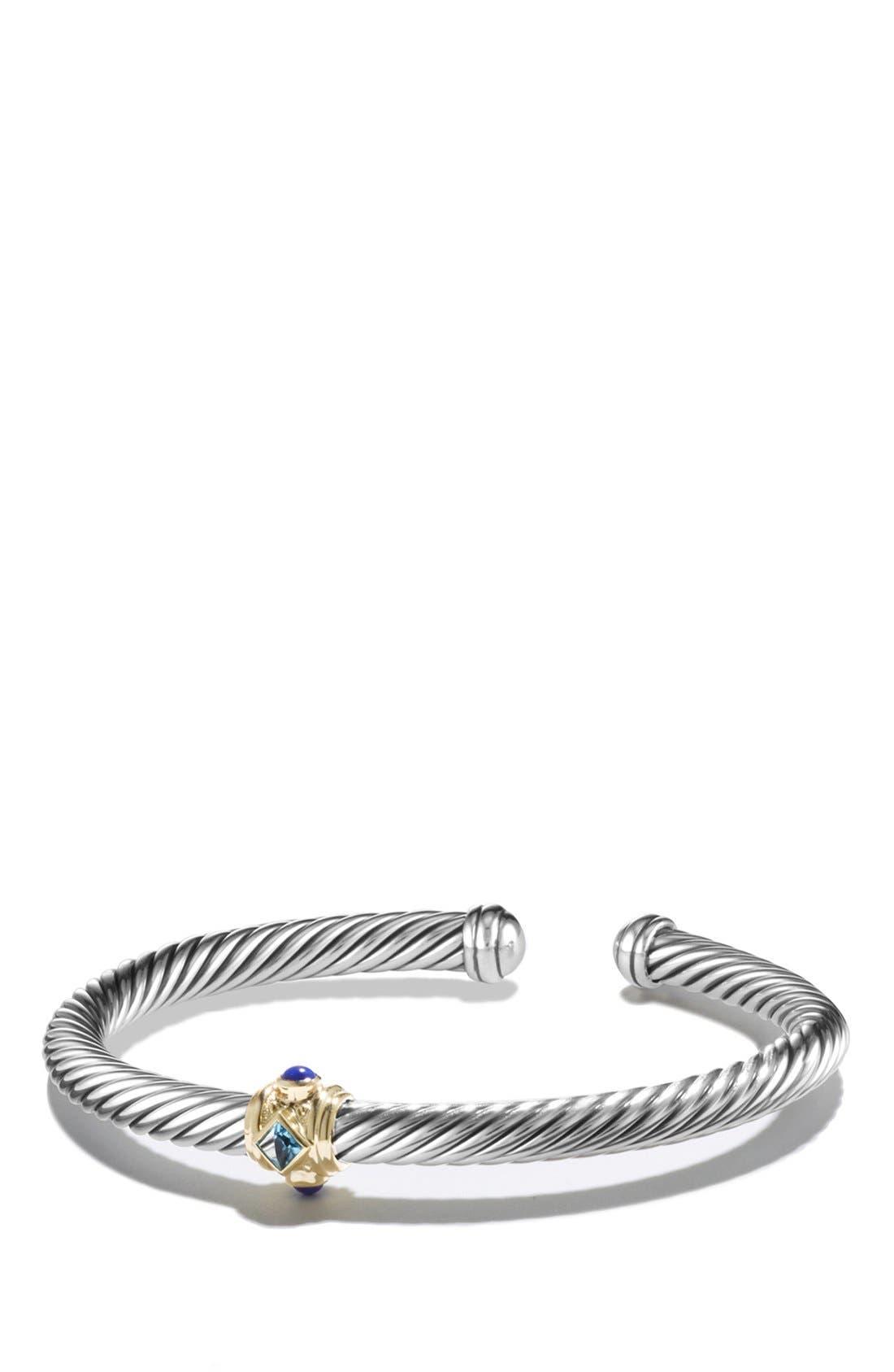 Renaissance Bracelet with Semiprecious Stones & 14K Gold, 5mm,                             Main thumbnail 1, color,                             BLUE TOPAZ