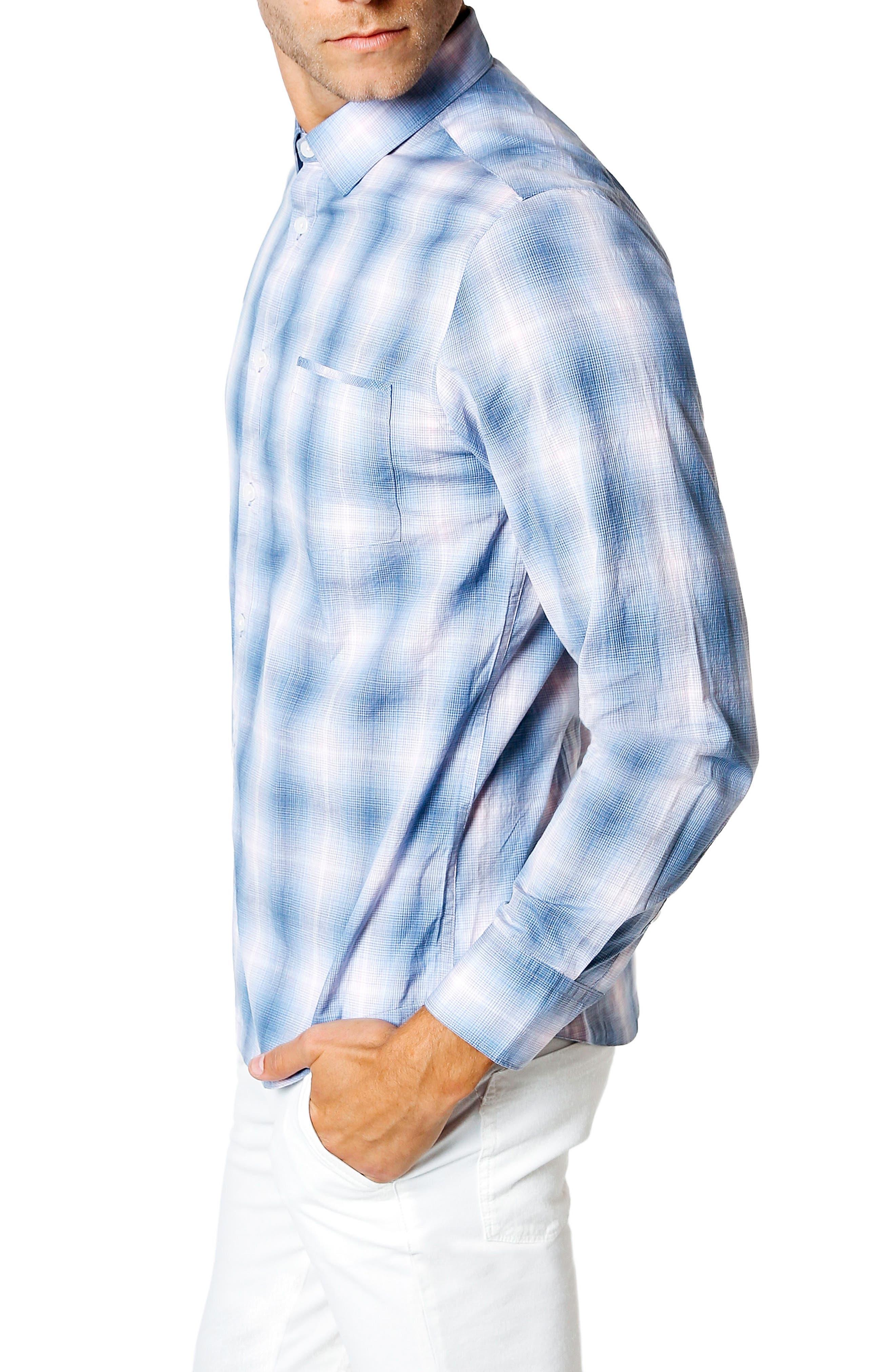 Sunset Slim Fit Sport Shirt,                             Alternate thumbnail 3, color,