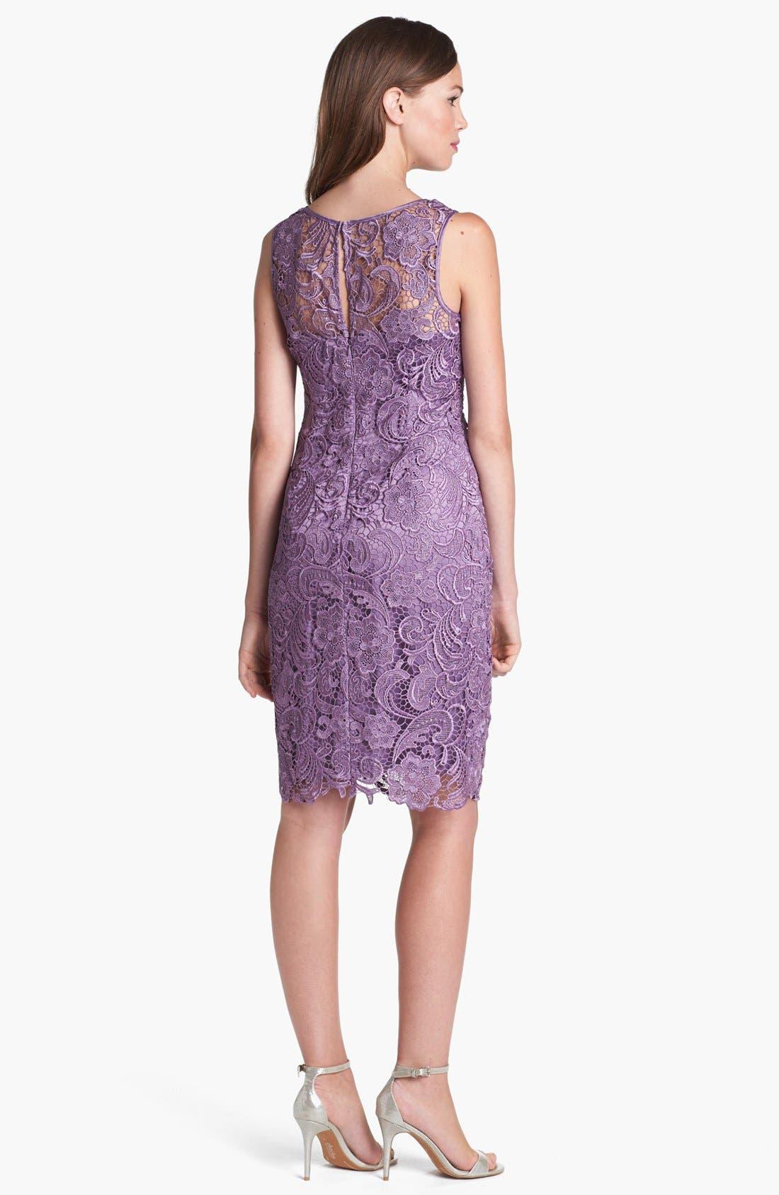 Illusion Bodice Lace Sheath Dress,                             Alternate thumbnail 19, color,