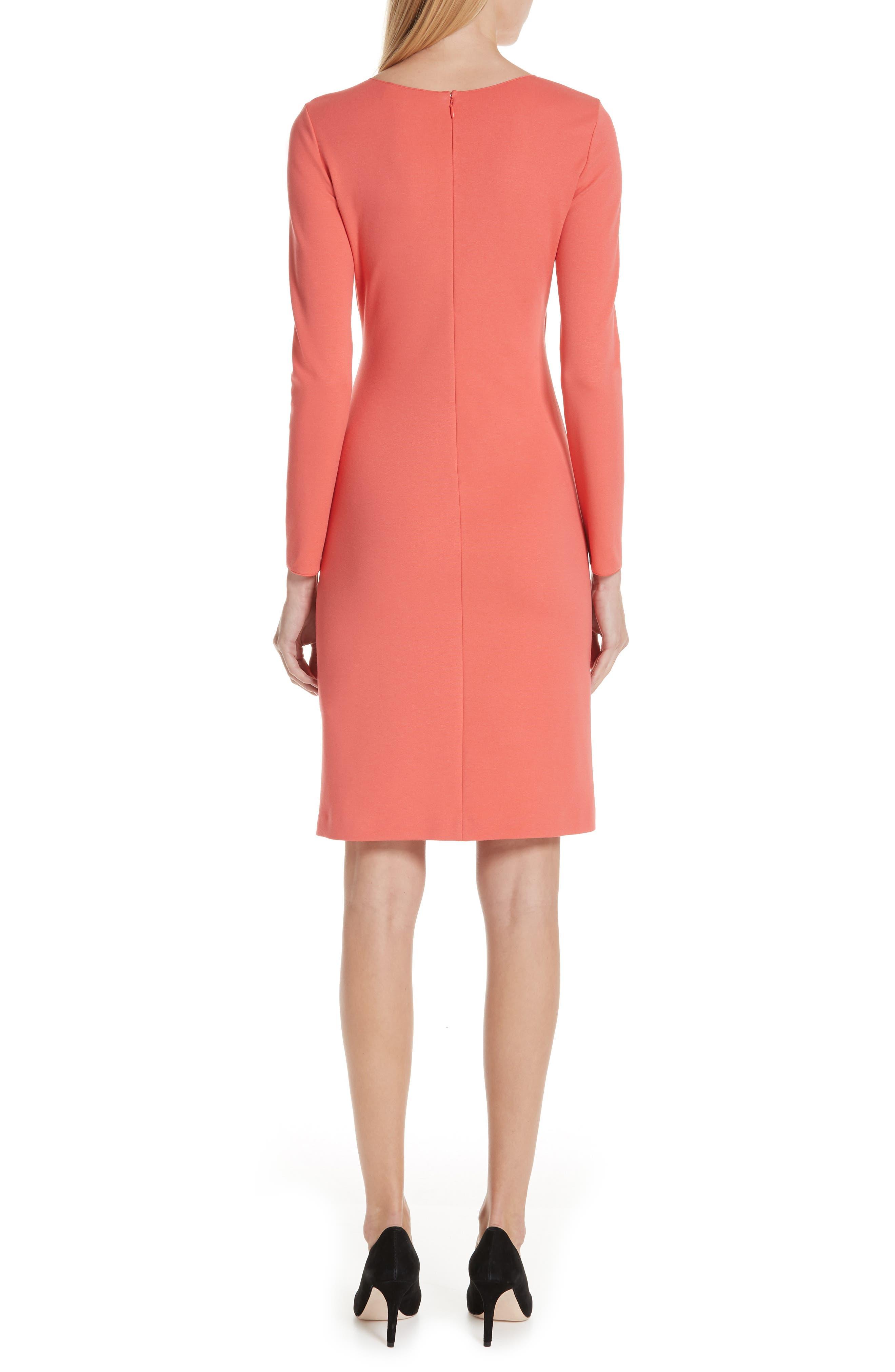 Punto Milano Faux Wrap Dress,                             Alternate thumbnail 2, color,                             SUNRISE RED