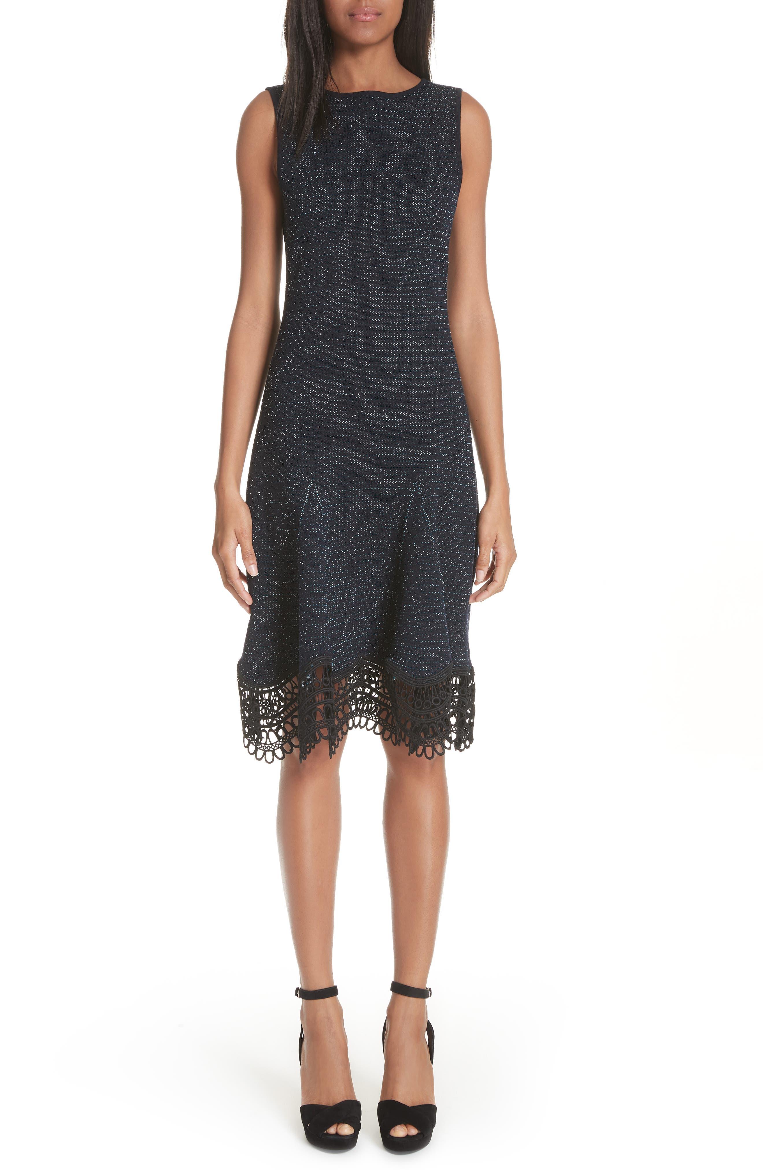 Oscar De La Renta Lace Trim Tweed Knit Dress