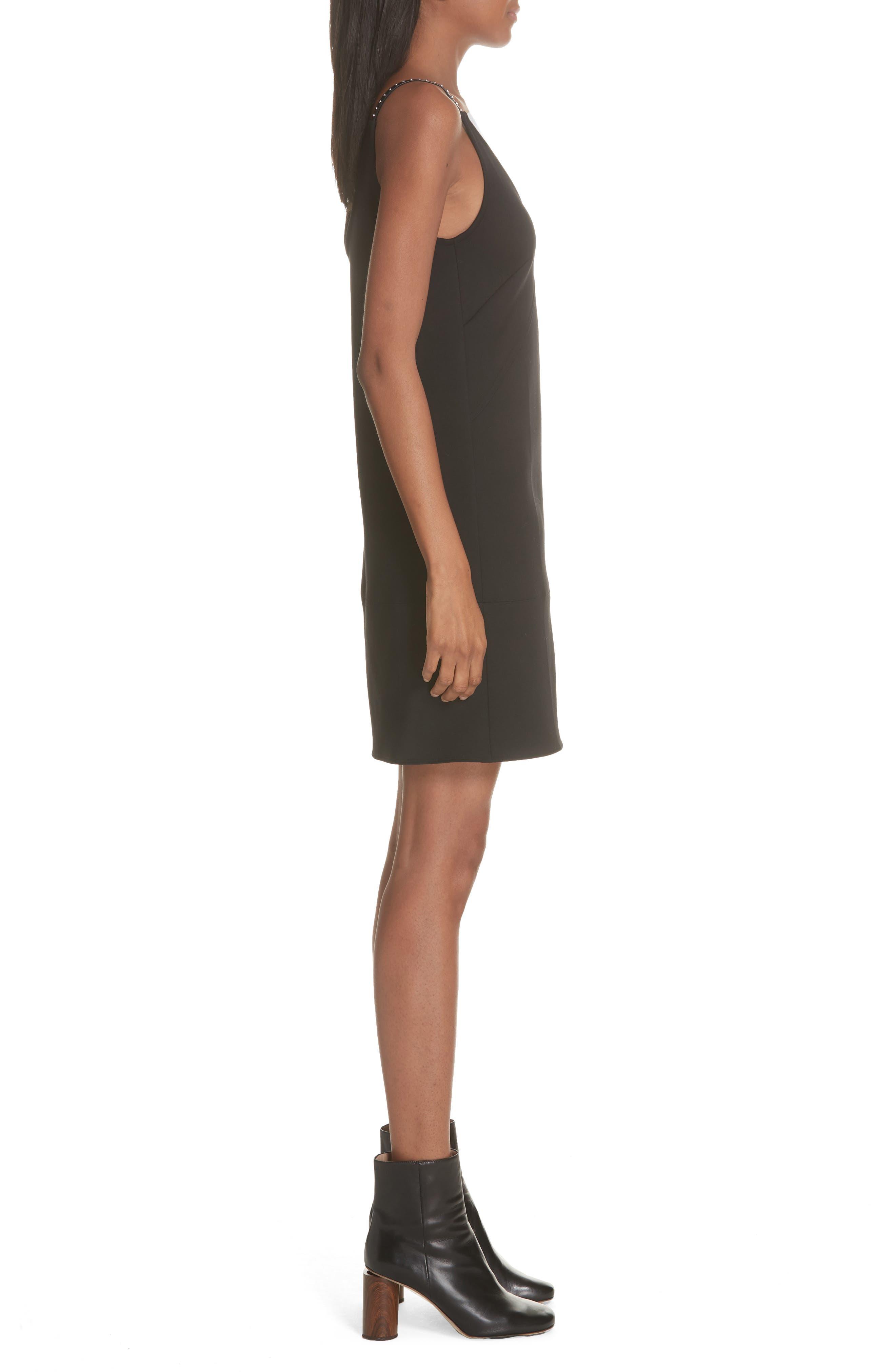 Studded Camisole Dress,                             Alternate thumbnail 3, color,                             BLACK