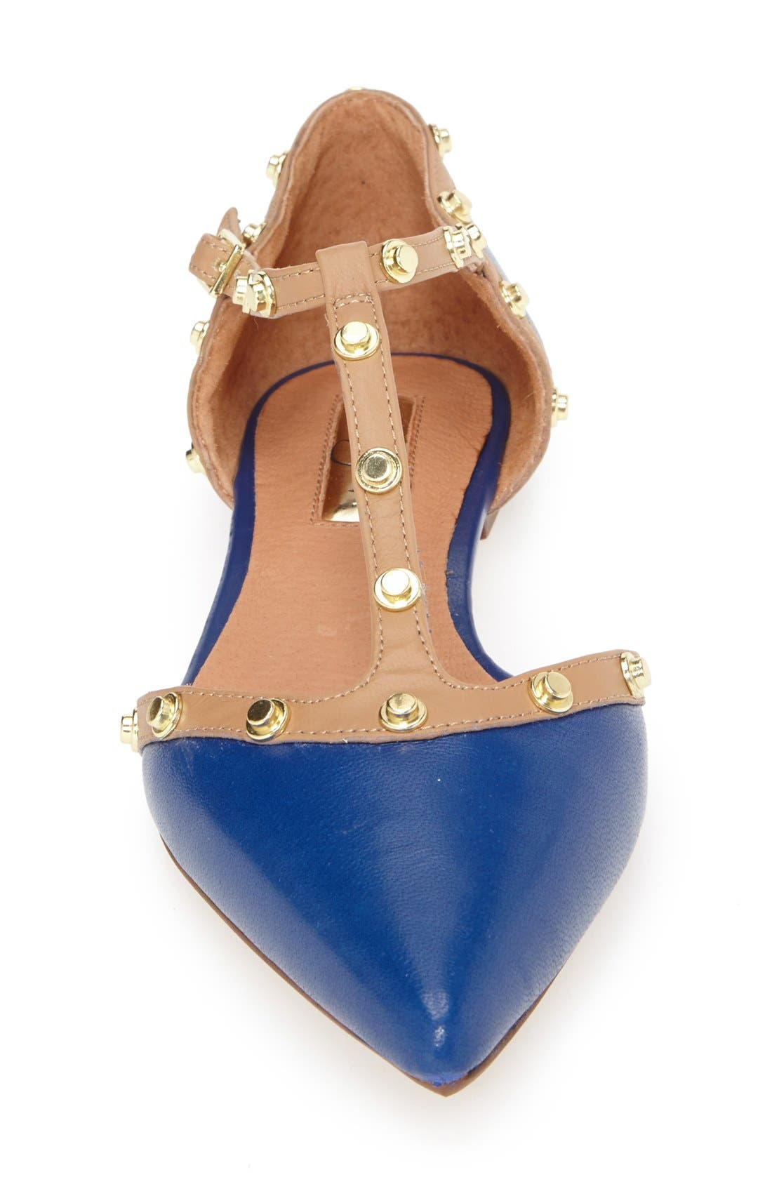 'Olson' Pointy Toe Studded T-Strap Flat,                             Alternate thumbnail 79, color,