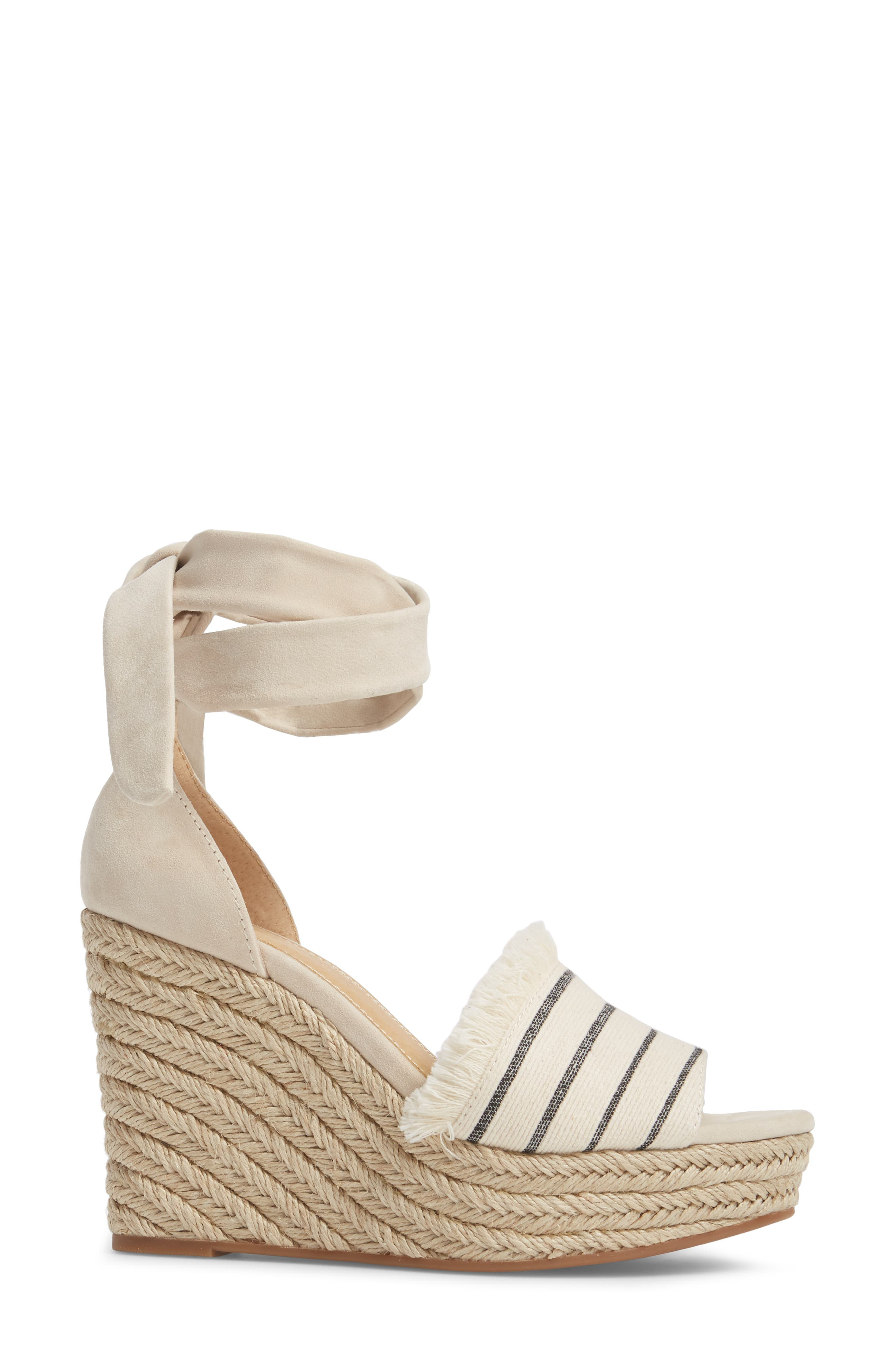 Barke Fringed Platform Wedge Sandal,                             Alternate thumbnail 3, color,                             100