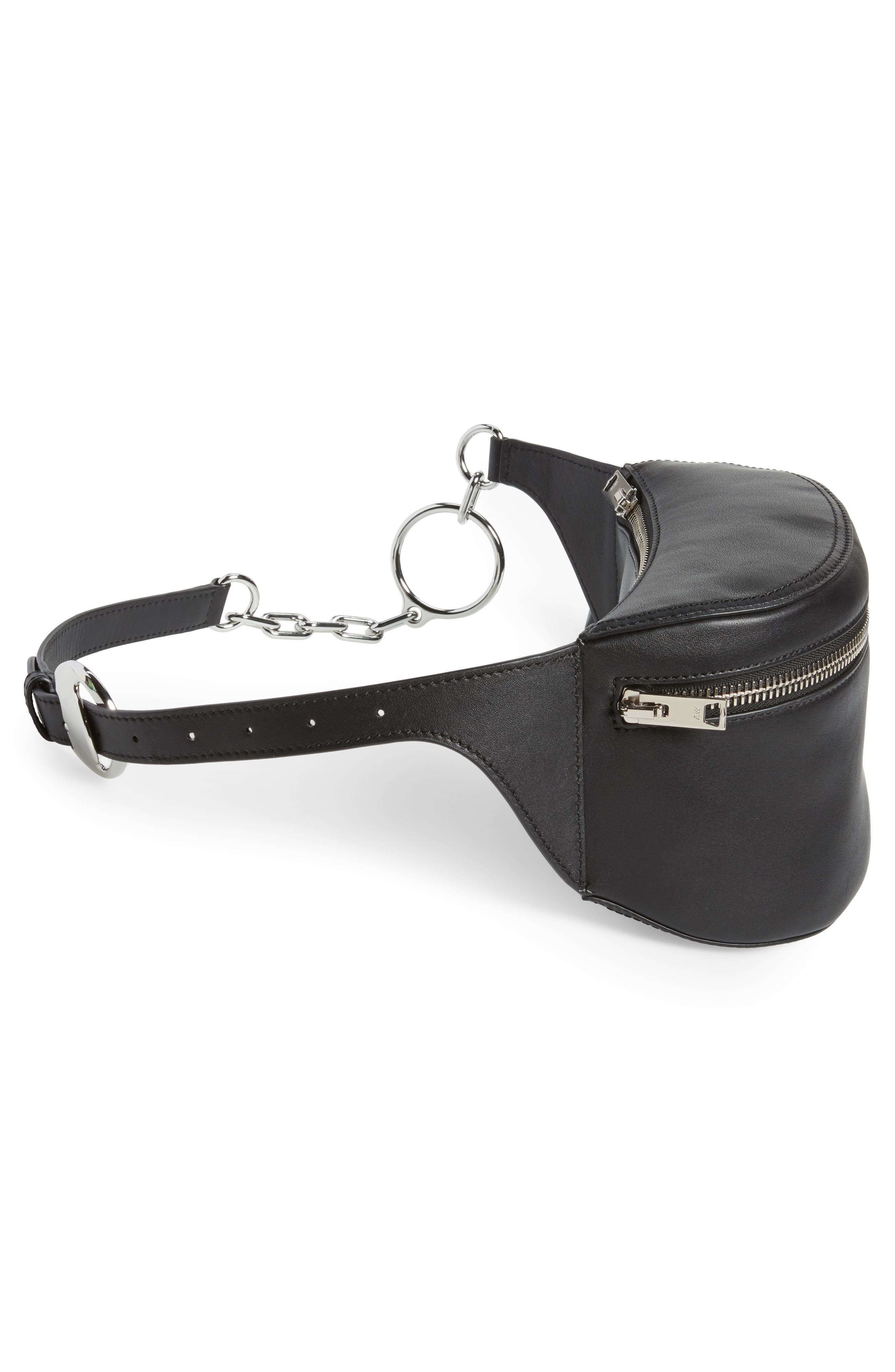 Leather Fanny Pack,                             Alternate thumbnail 6, color,                             001