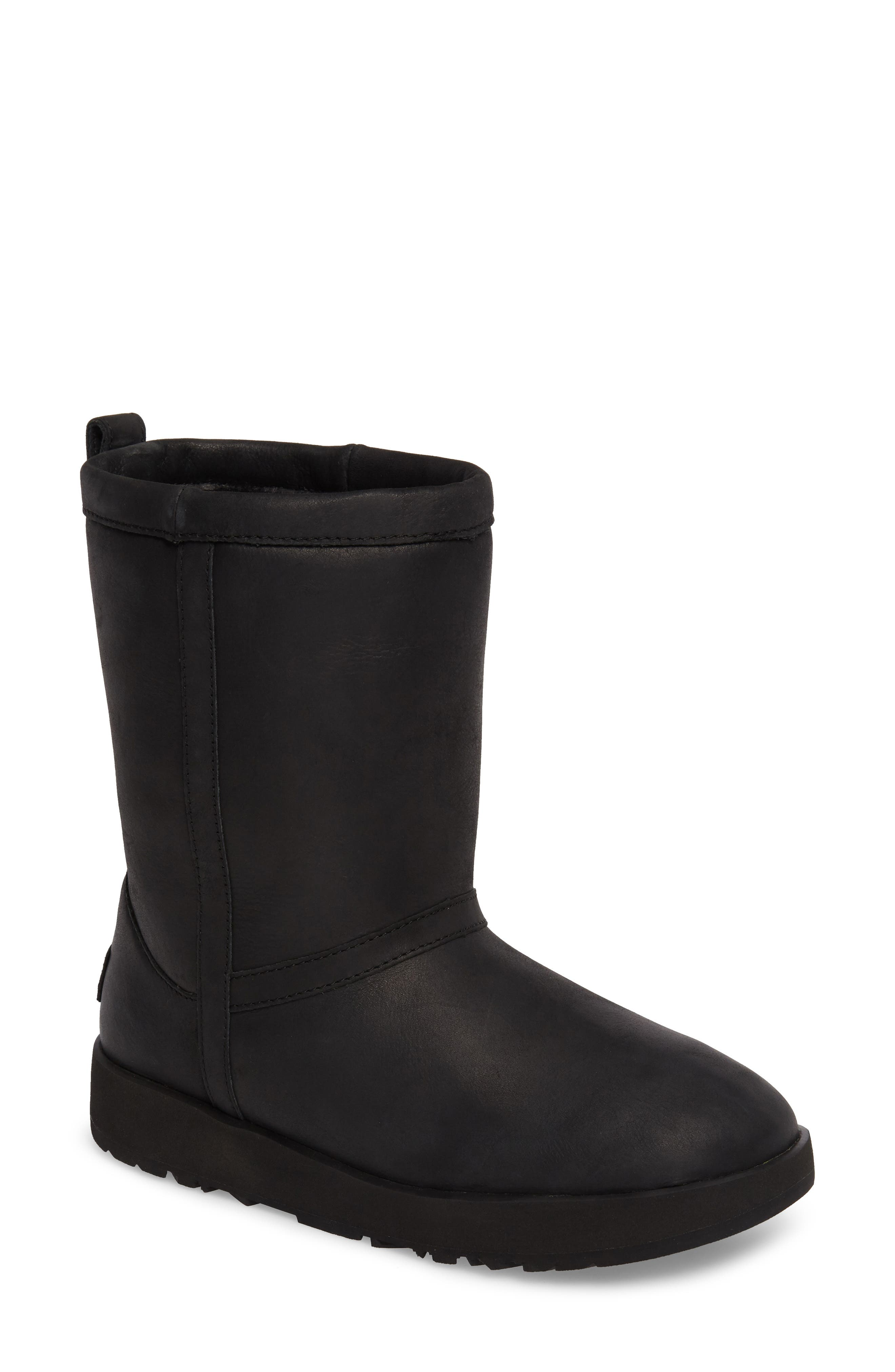 UGG<SUP>®</SUP>,                             Classic Genuine Shearling Lined Short Waterproof Boot,                             Main thumbnail 1, color,                             BLACK LEATHER