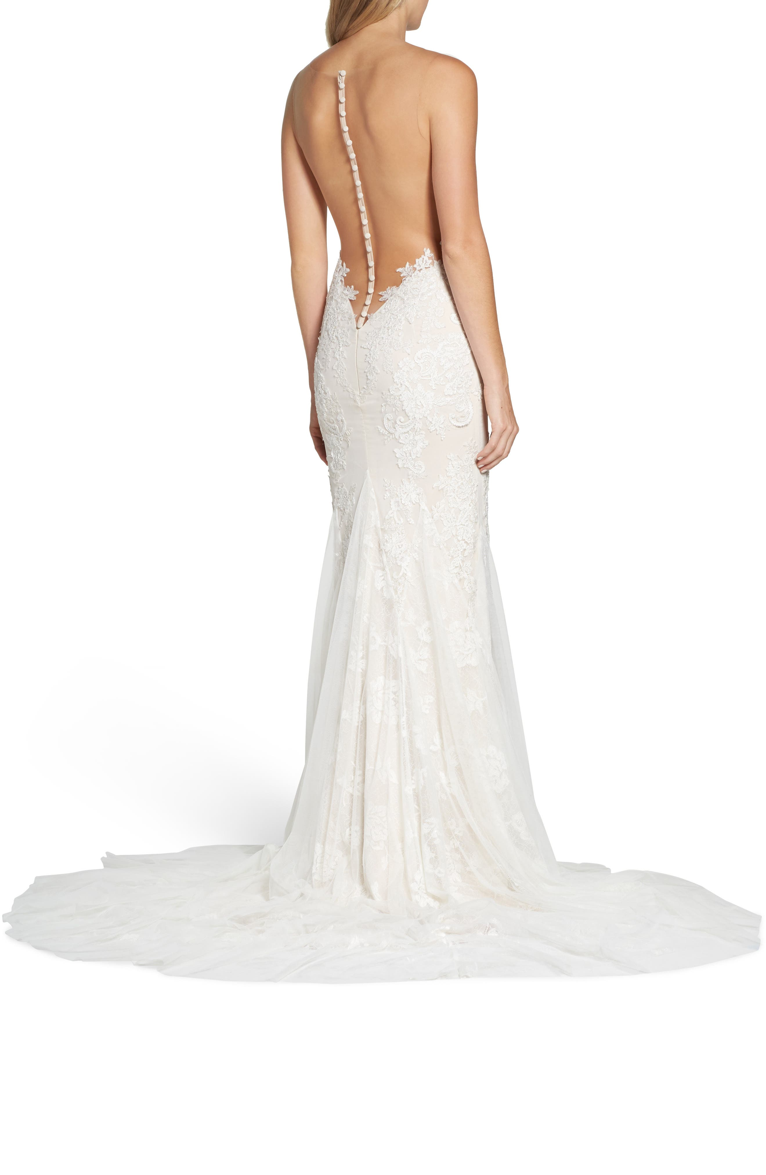 Daisy Illusion V-Neck Gown,                             Alternate thumbnail 2, color,                             OFF WHITE/ SOFT NUDE