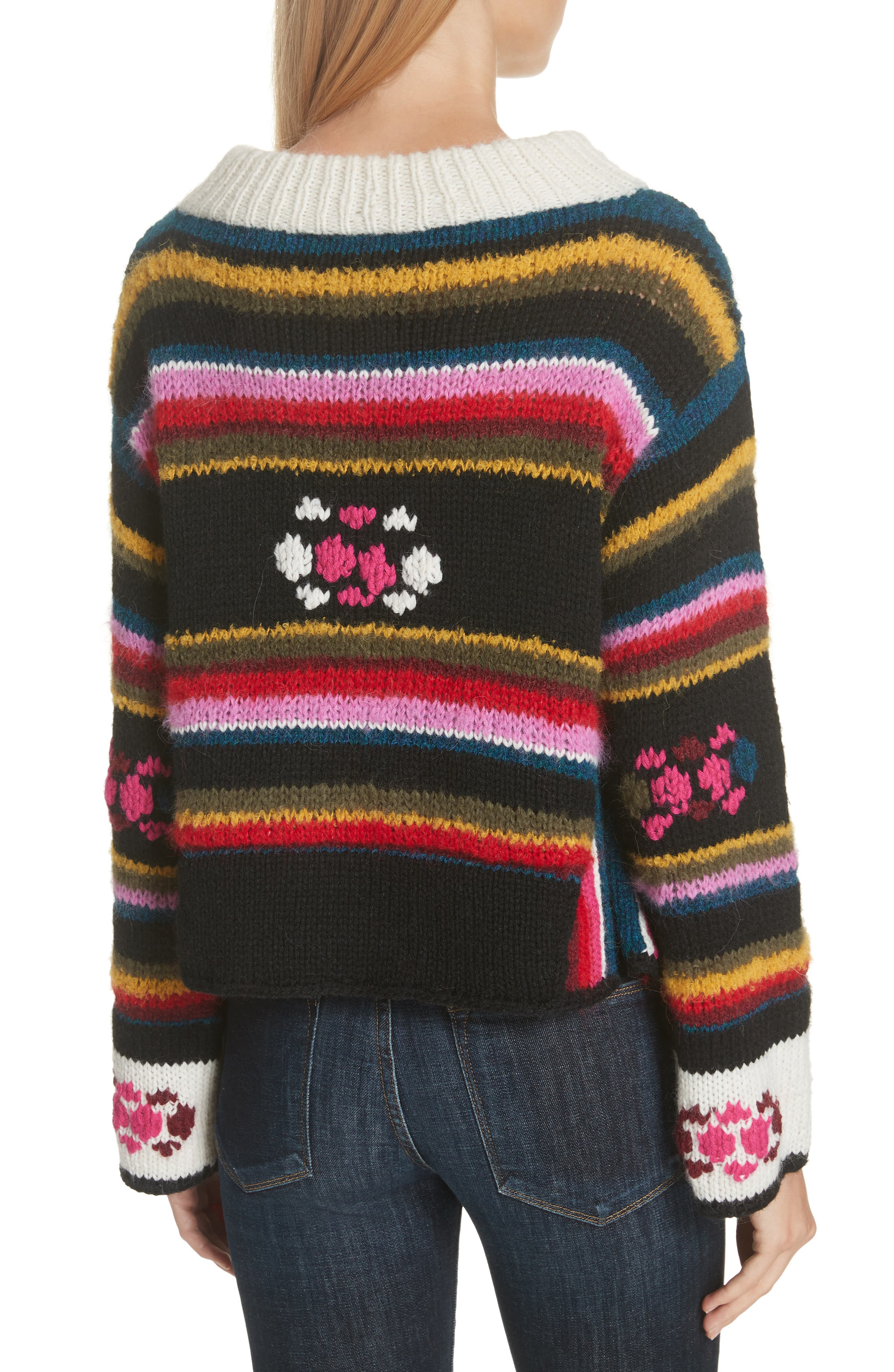 Hand Knit Stripe Alpaca Sweater,                             Alternate thumbnail 2, color,                             007