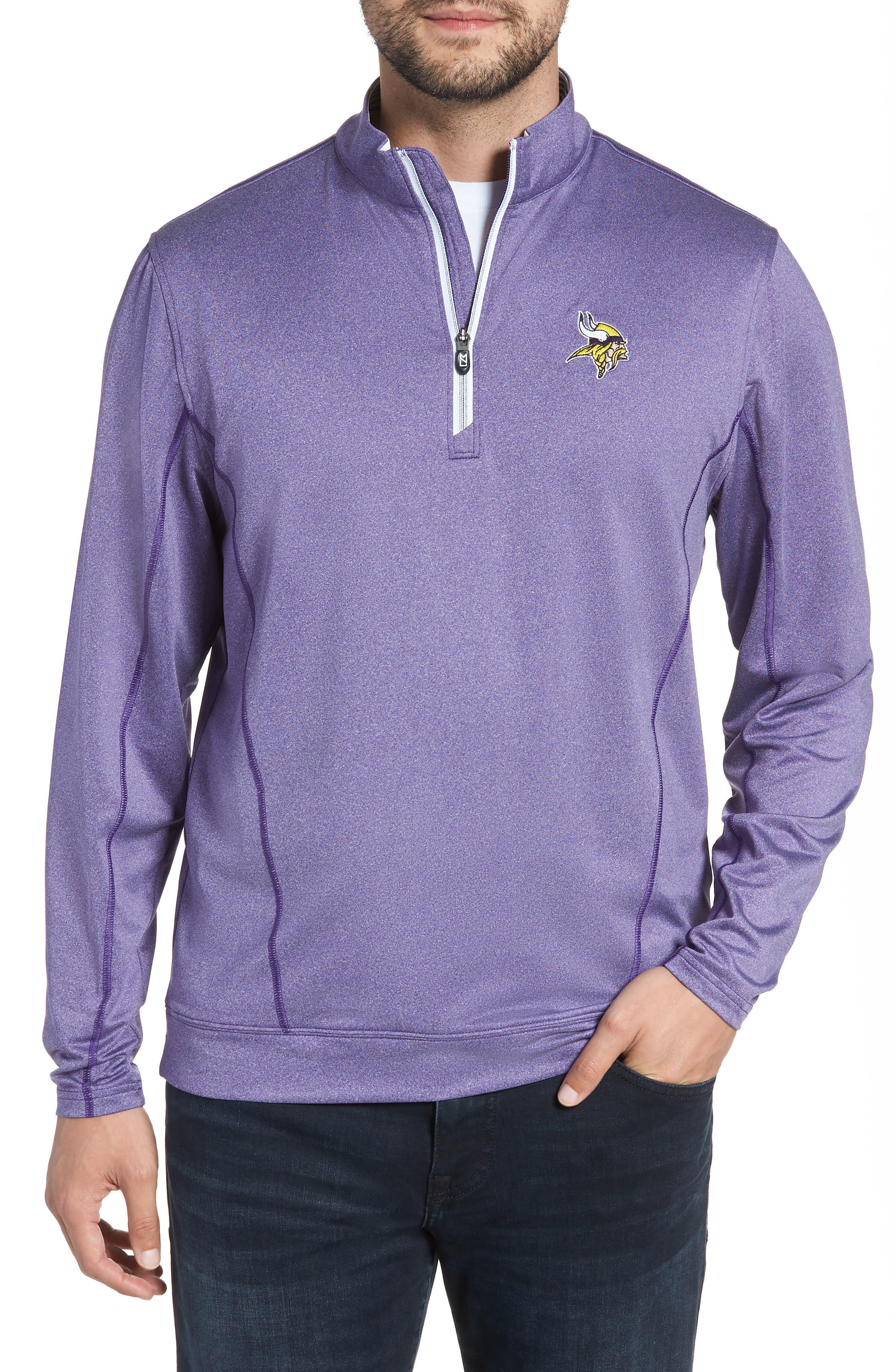Endurance Minnesota Vikings Regular Fit Pullover,                             Main thumbnail 1, color,                             COLLEGE PURPLE HEATHER