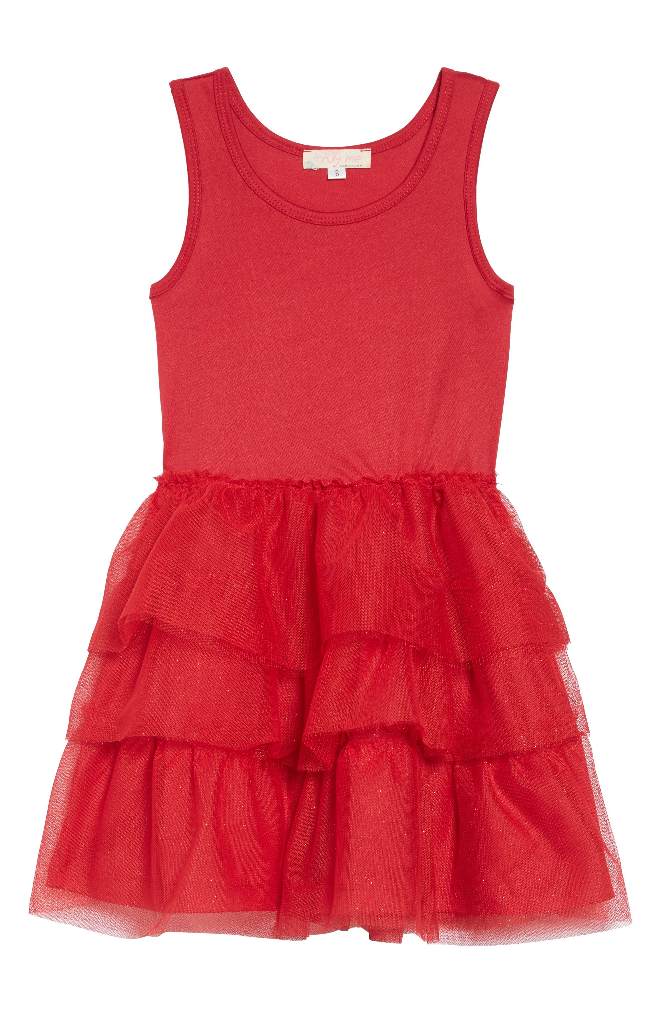Believe Sequin Appliqué Sweatshirt & Tulle Dress Set,                             Alternate thumbnail 3, color,                             BLACK RED