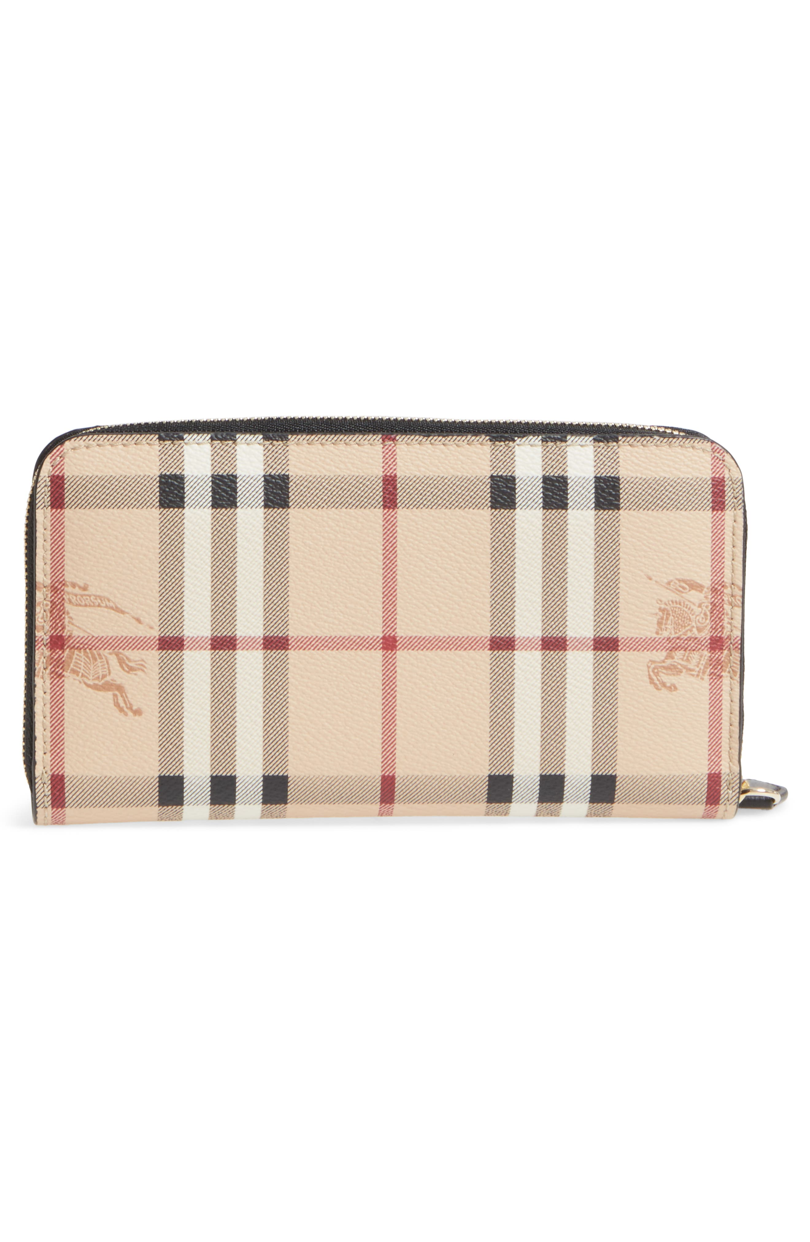 Elmore Check Coated Canvas & Leather Zip Around Wallet,                             Alternate thumbnail 3, color,                             001