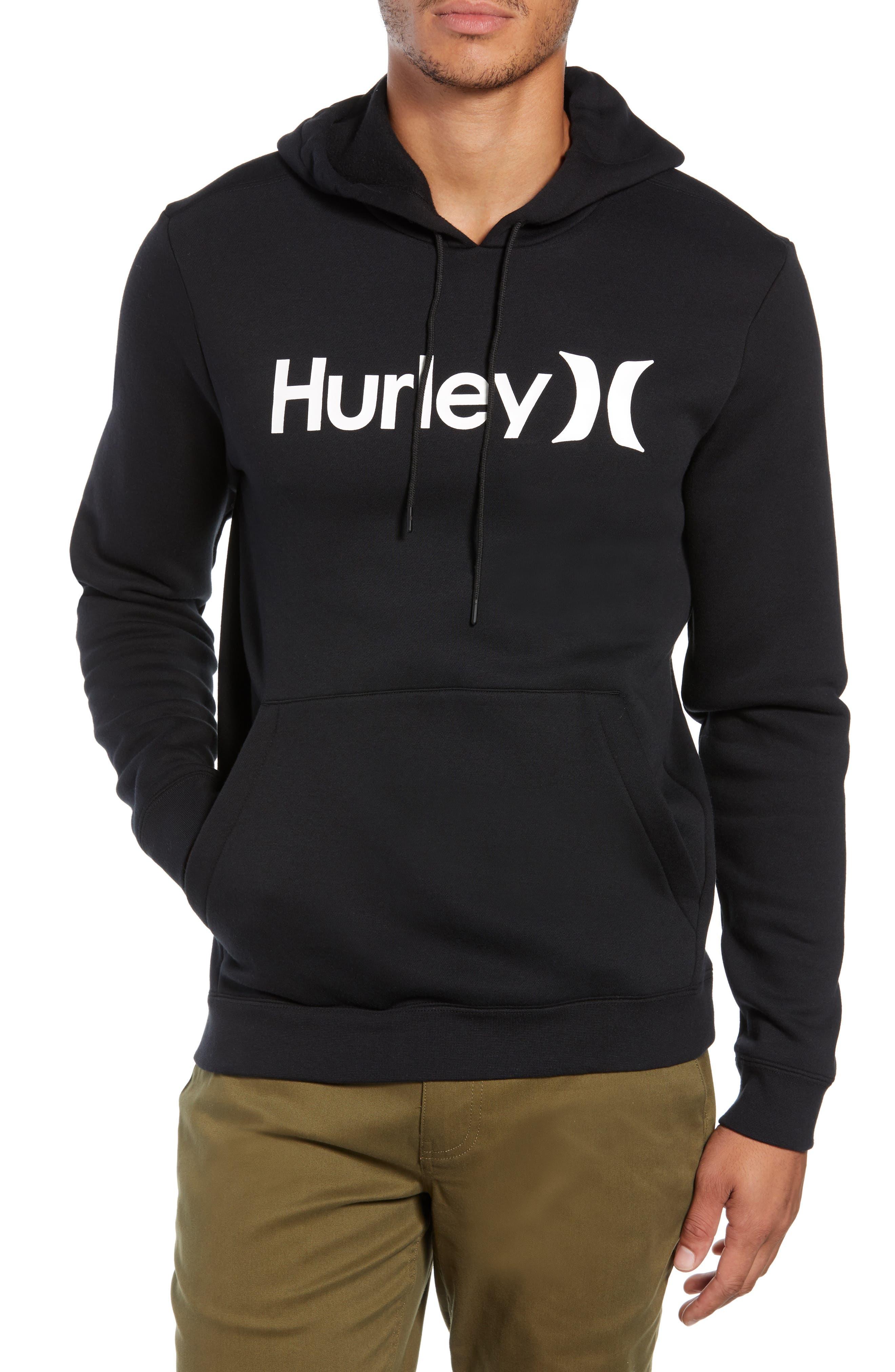 HURLEY Surf Check Hoodie Sweatshirt in Black / White