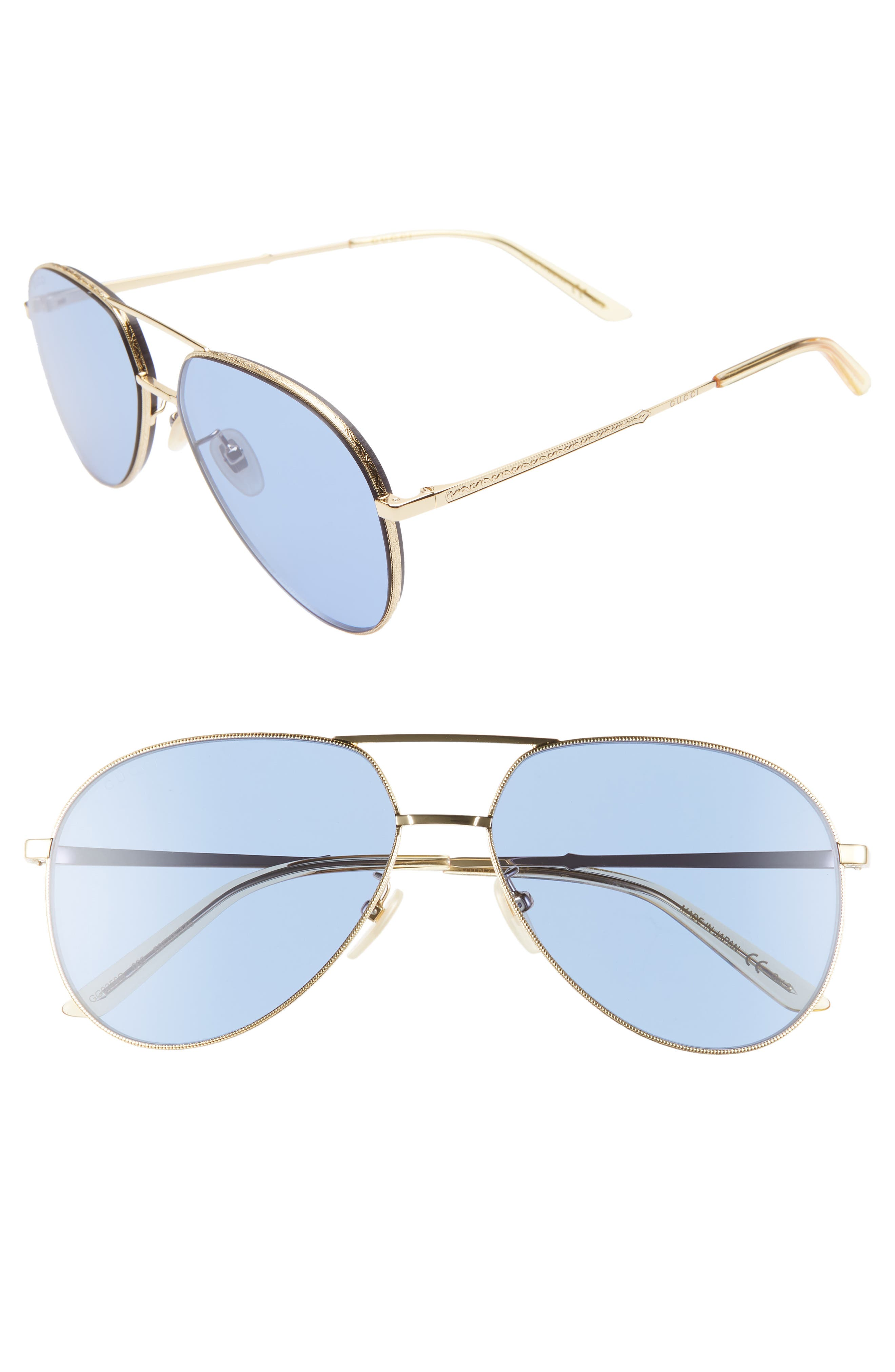 59mm Metal Aviator Sunglasses,                         Main,                         color, GOLD/ BLUE