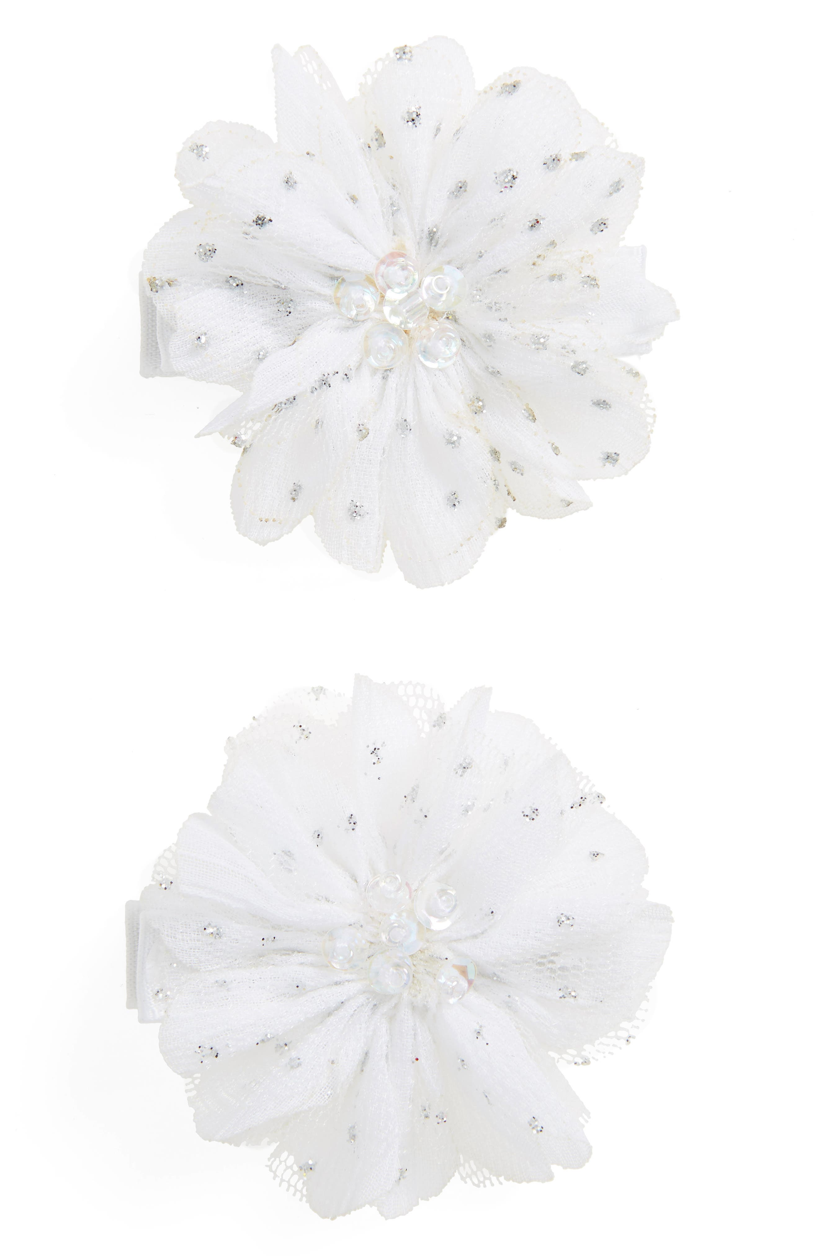 PLH BOWS Set of 2 Flower Hair Clips, Main, color, 100