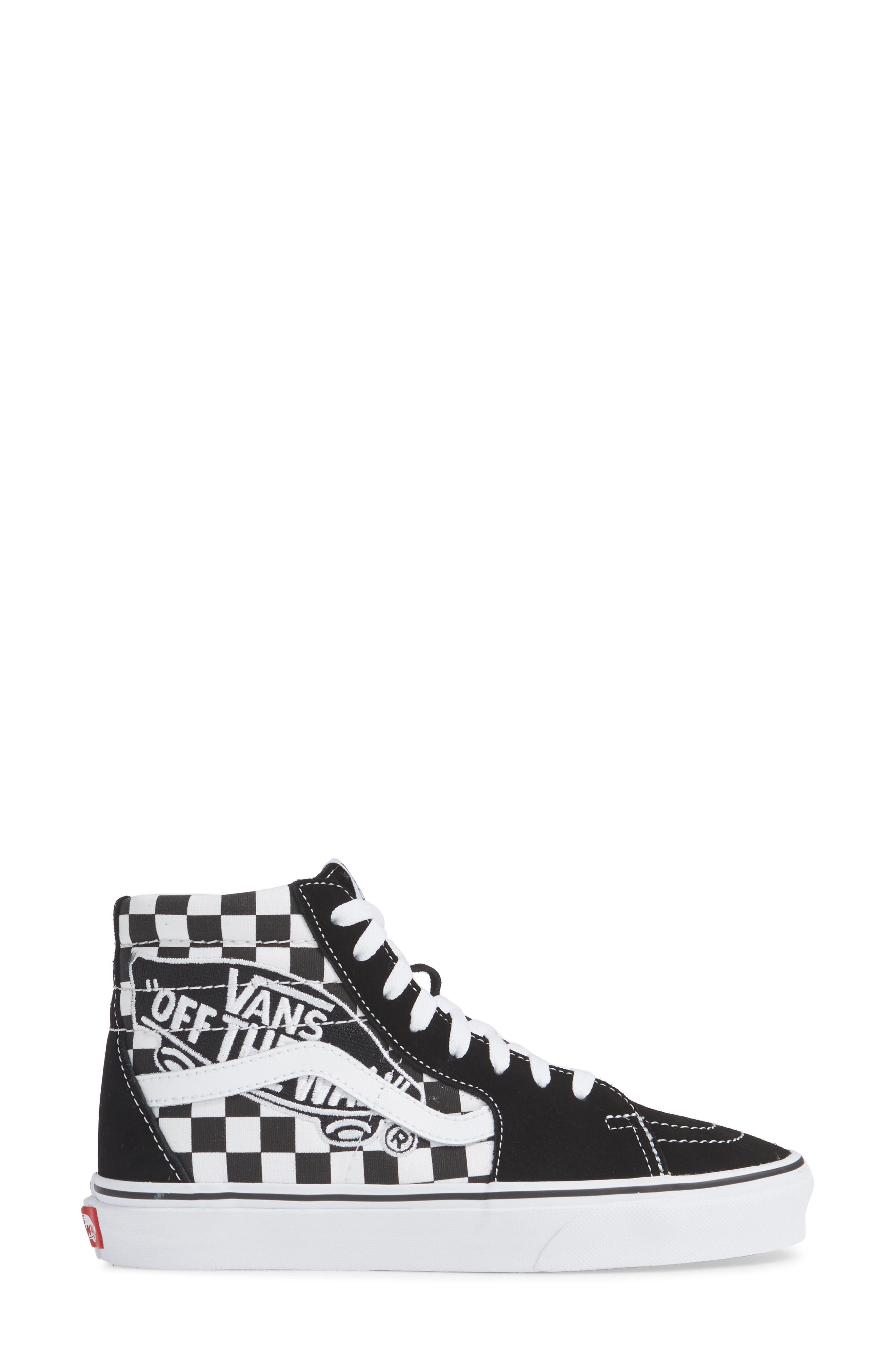 Sk8-Hi Patch High Top Sneaker,                             Alternate thumbnail 3, color,                             BLACK/ TRUE WHITE