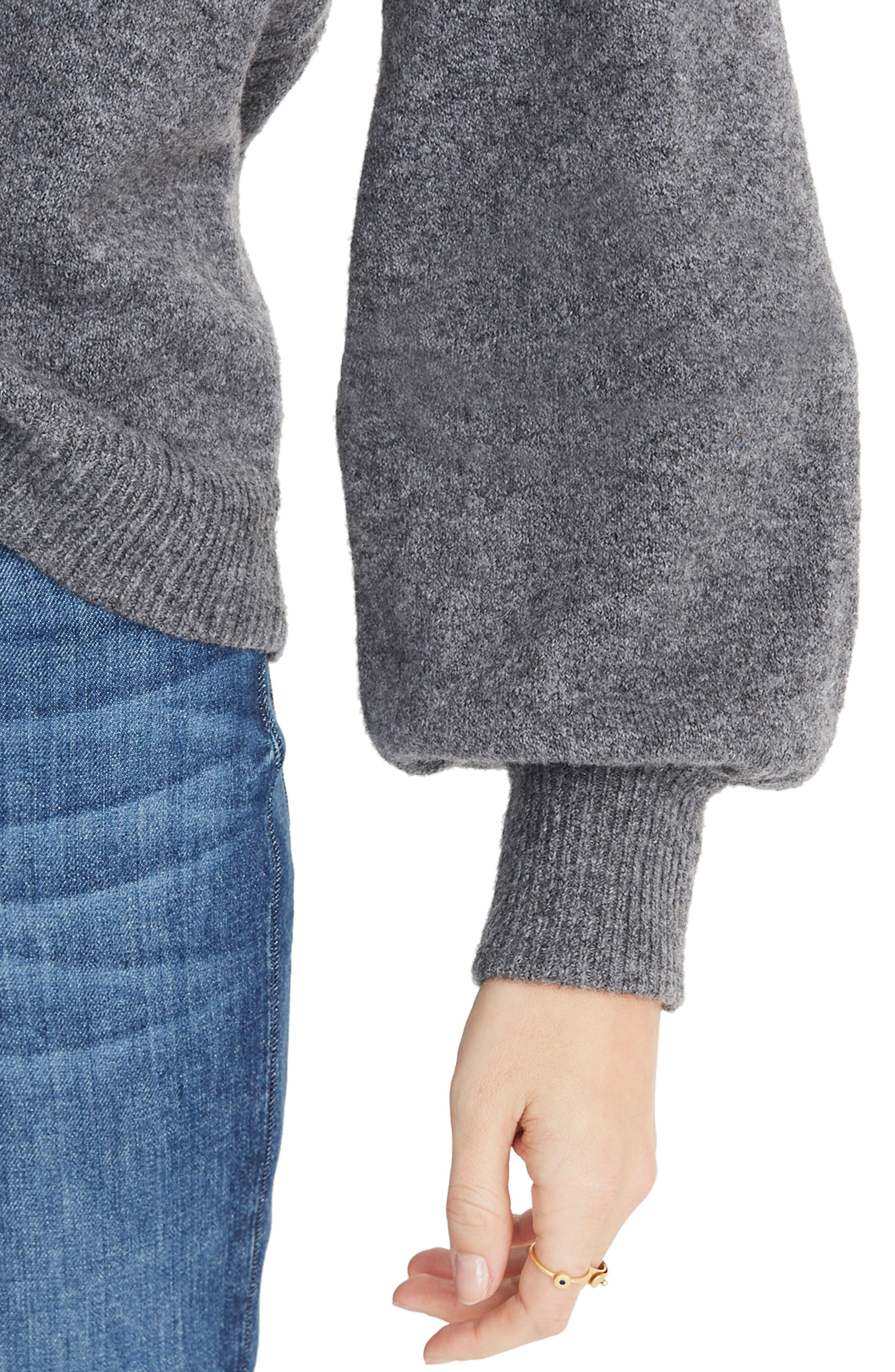 MADEWELL,                             Balloon Sleeve Pullover Sweater,                             Alternate thumbnail 4, color,                             HEATHER FLANNEL