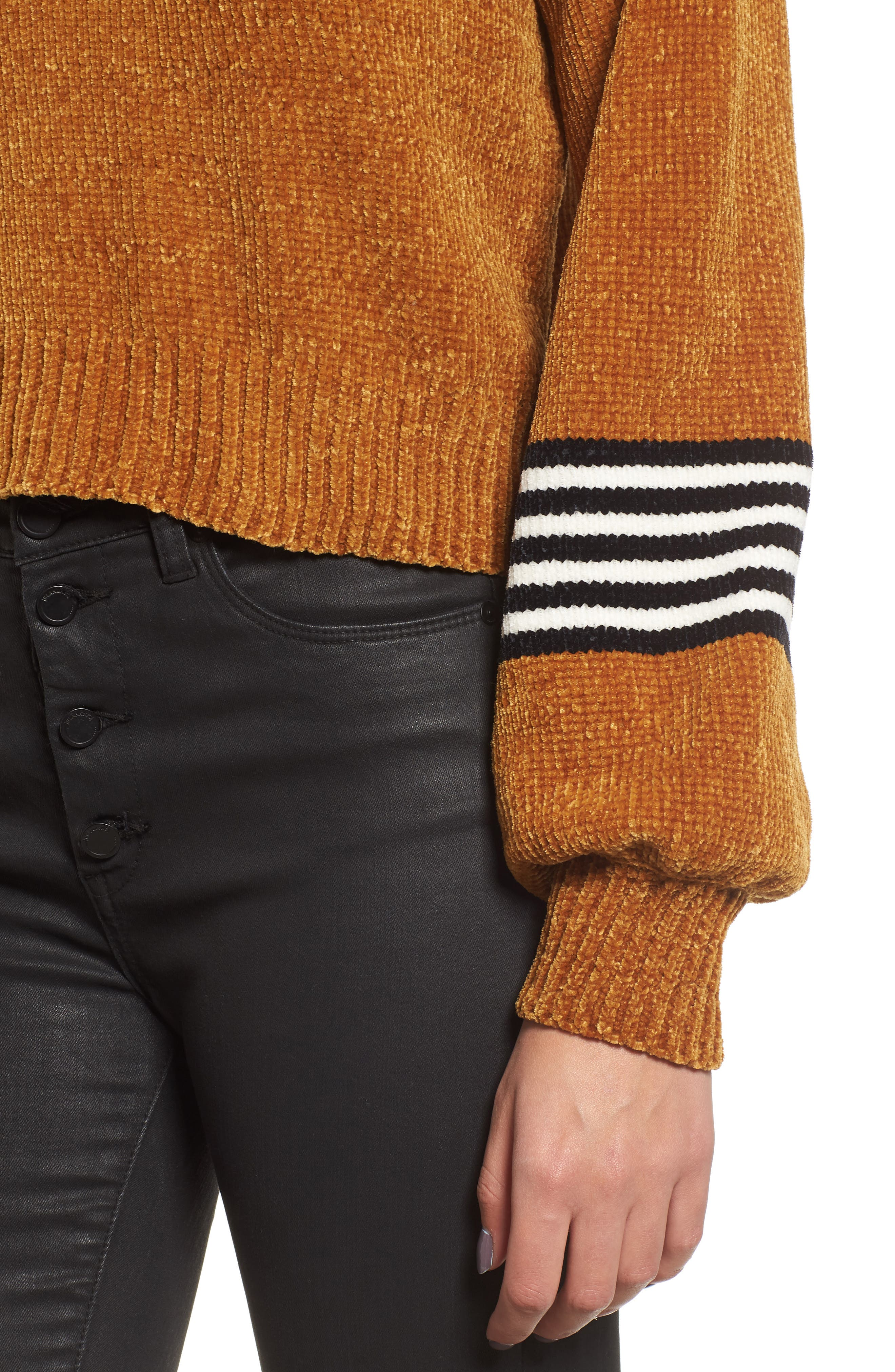 Stripe Sleeve Chenille Sweater,                             Alternate thumbnail 4, color,                             700
