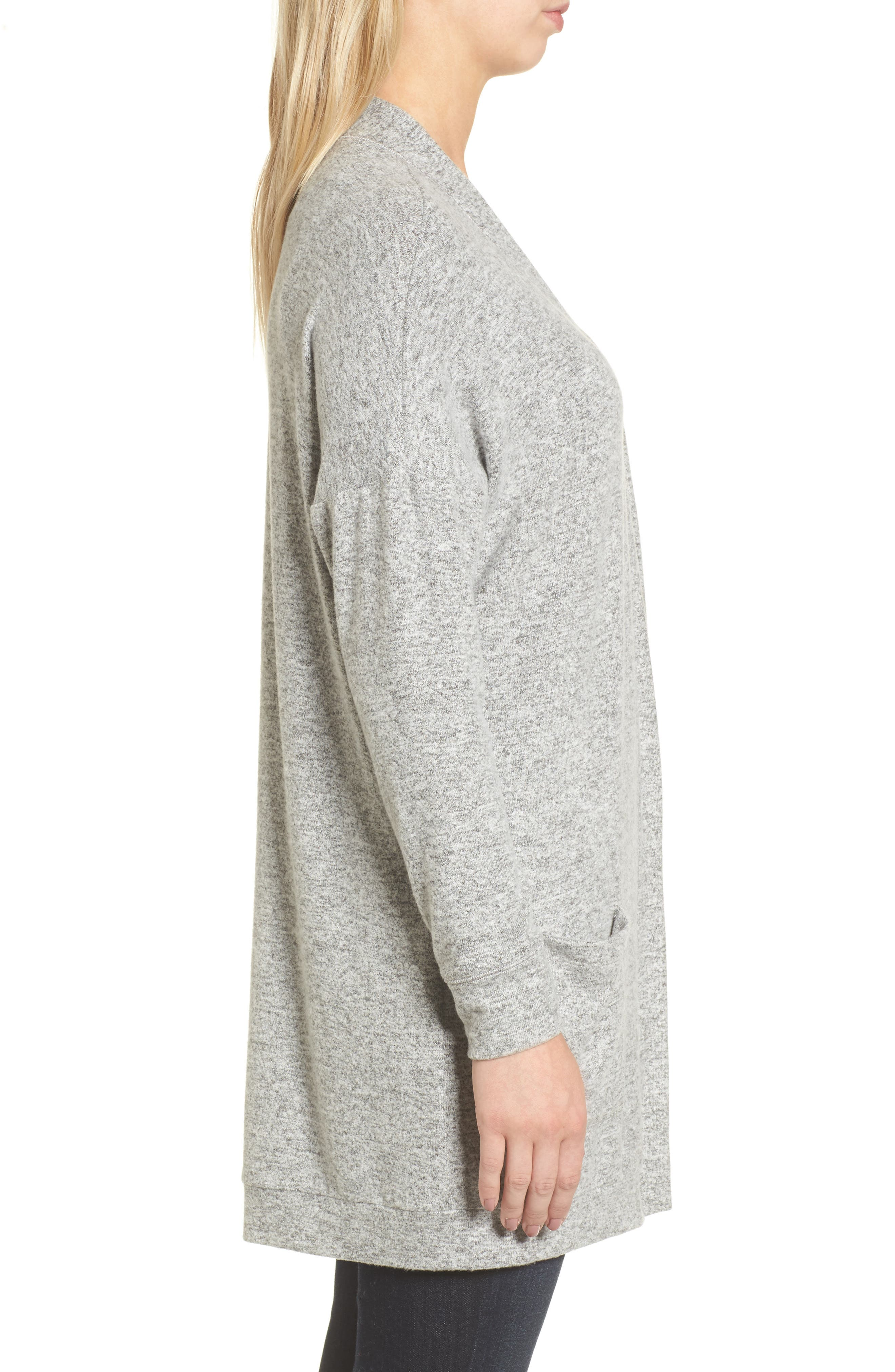 Rib Knit Cardigan,                             Alternate thumbnail 3, color,                             LIGHT HEATHER GREY