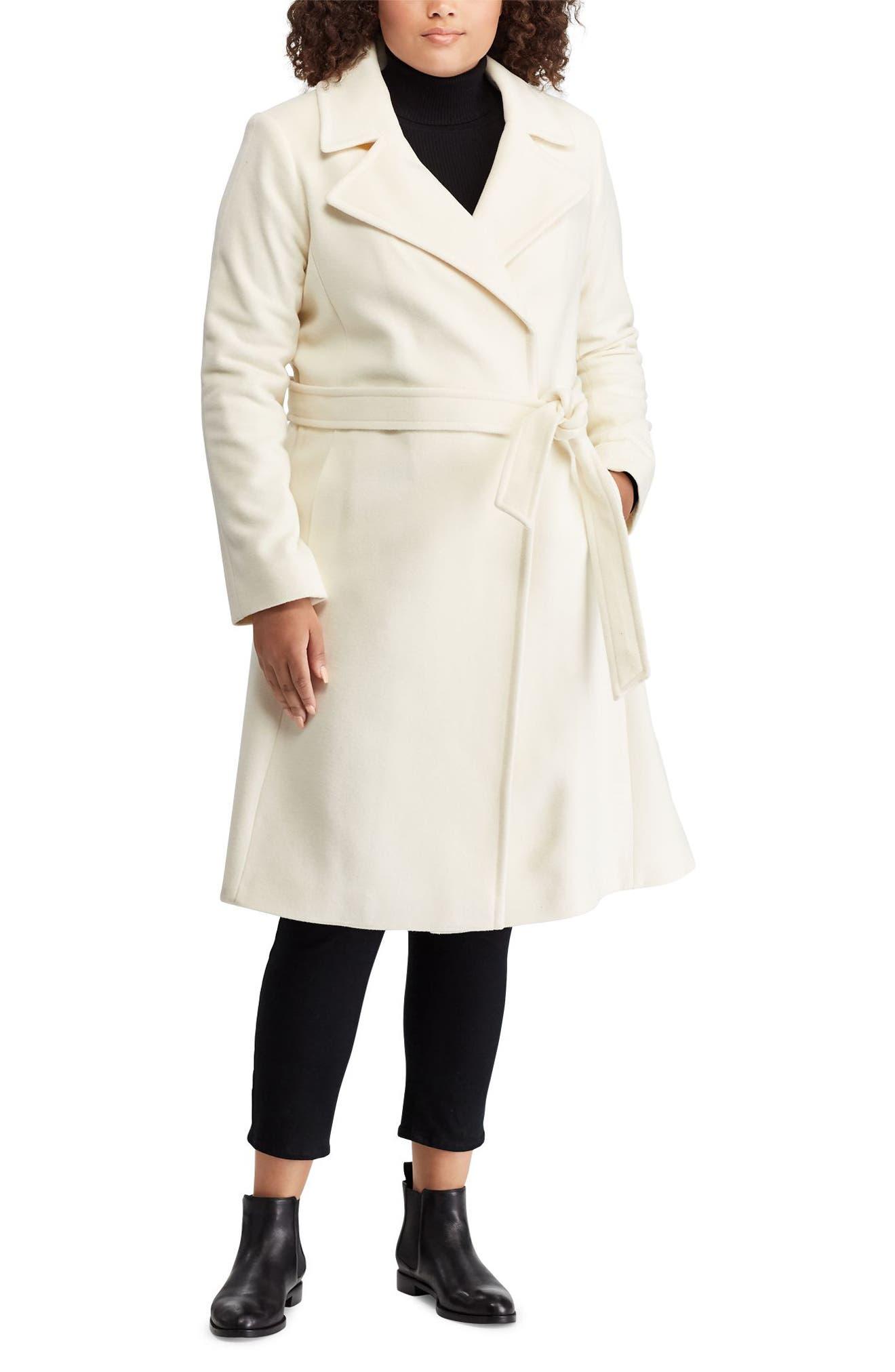 LAUREN RALPH LAUREN,                             Wool Blend Wrap Coat,                             Alternate thumbnail 3, color,                             MODA CREAM