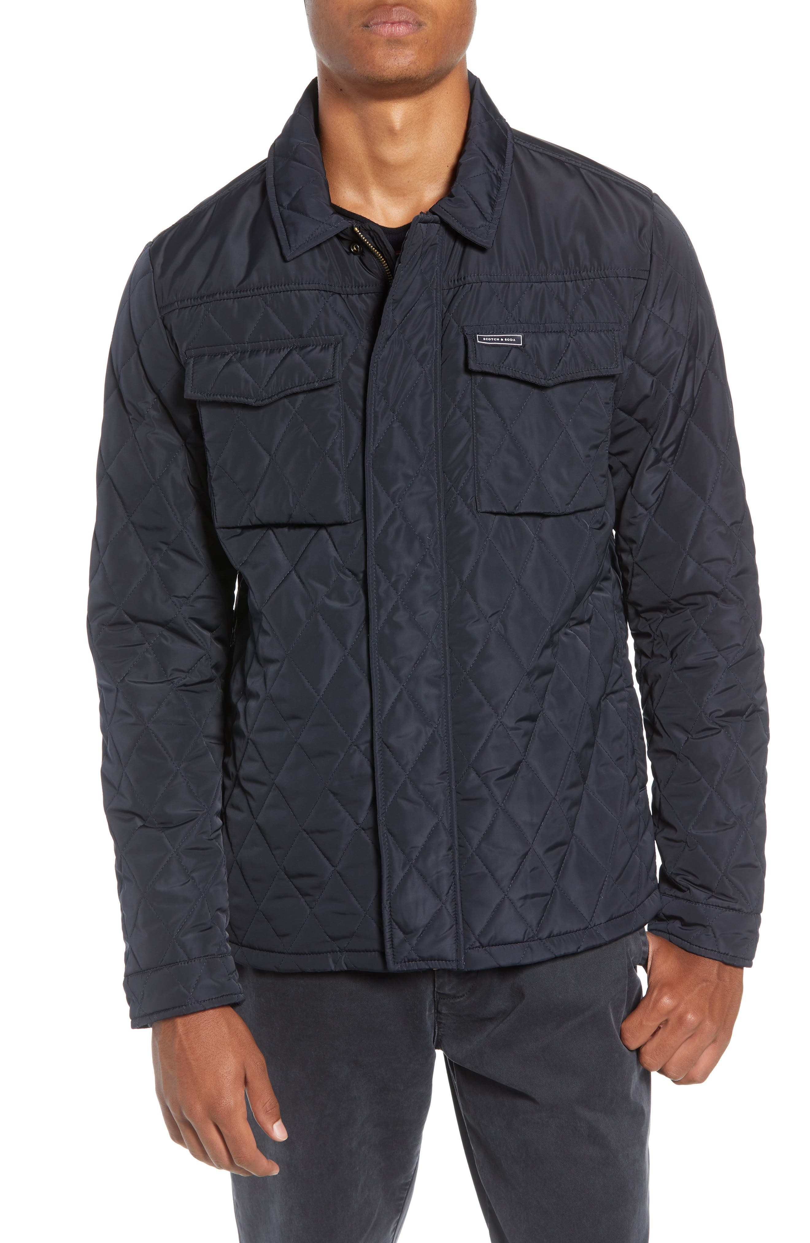 Quilted Shirt Jacket,                             Alternate thumbnail 4, color,                             NIGHT
