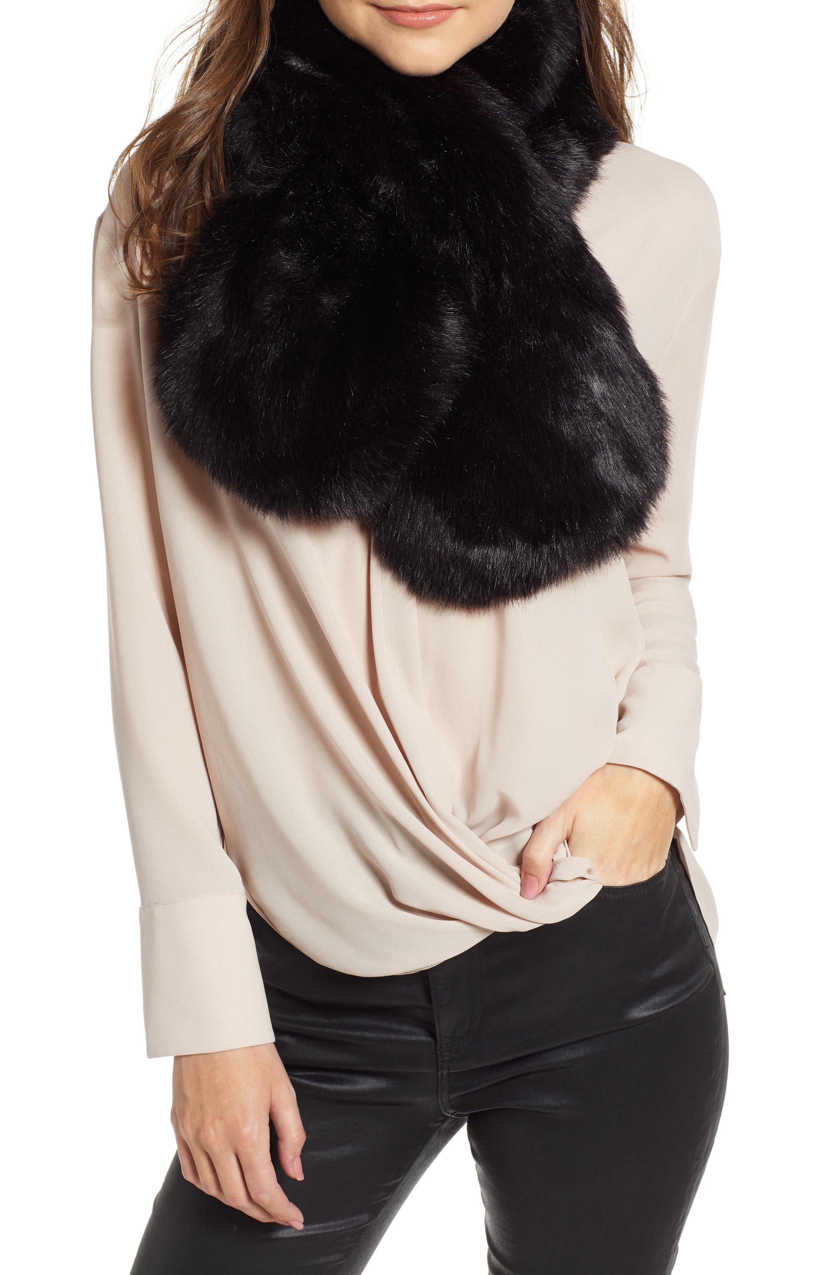 Faux Fur Scarf,                         Main,                         color, BLACK