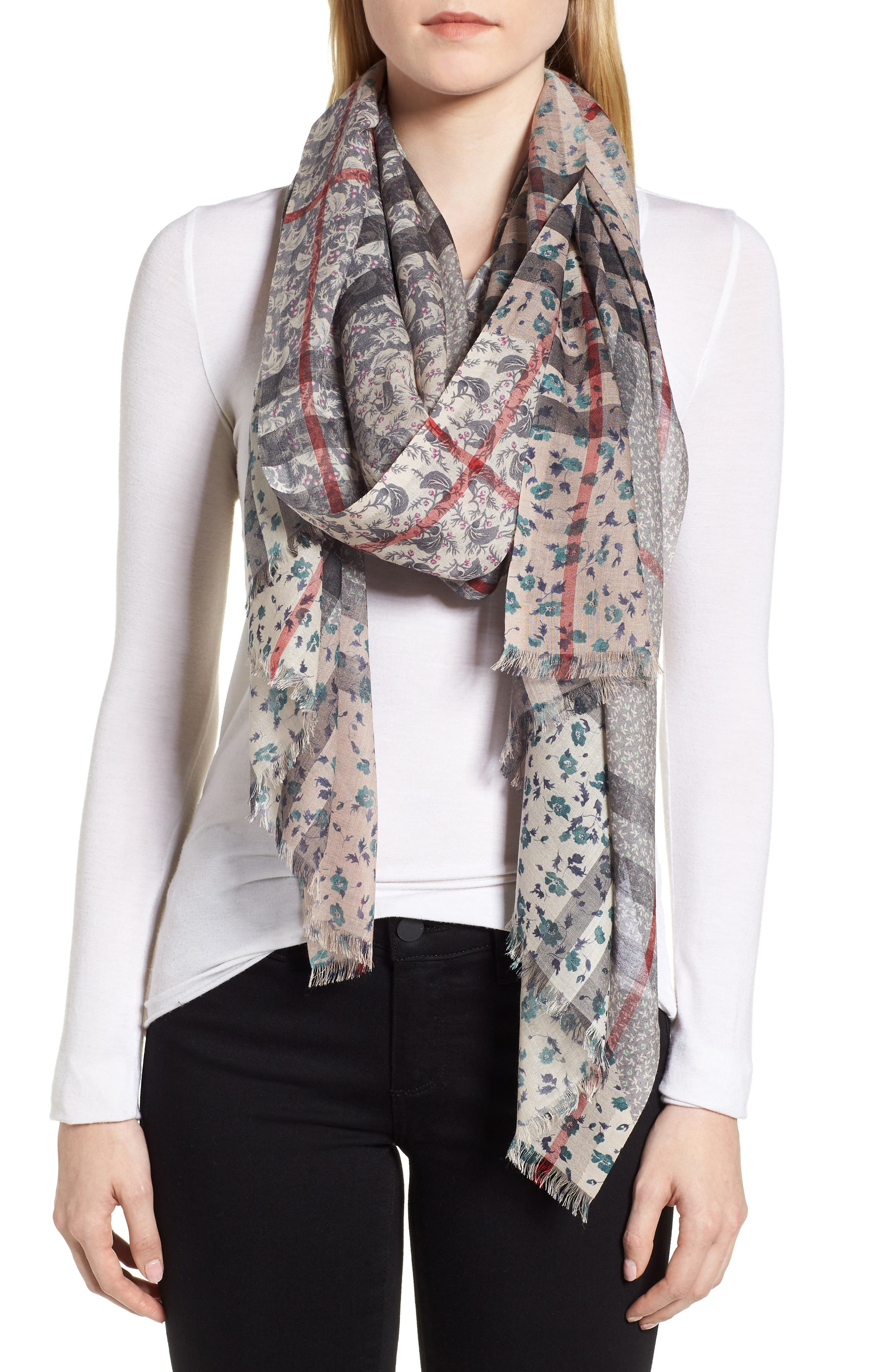Patchwork Floral & Check Wool & Silk Scarf,                             Alternate thumbnail 2, color,                             409