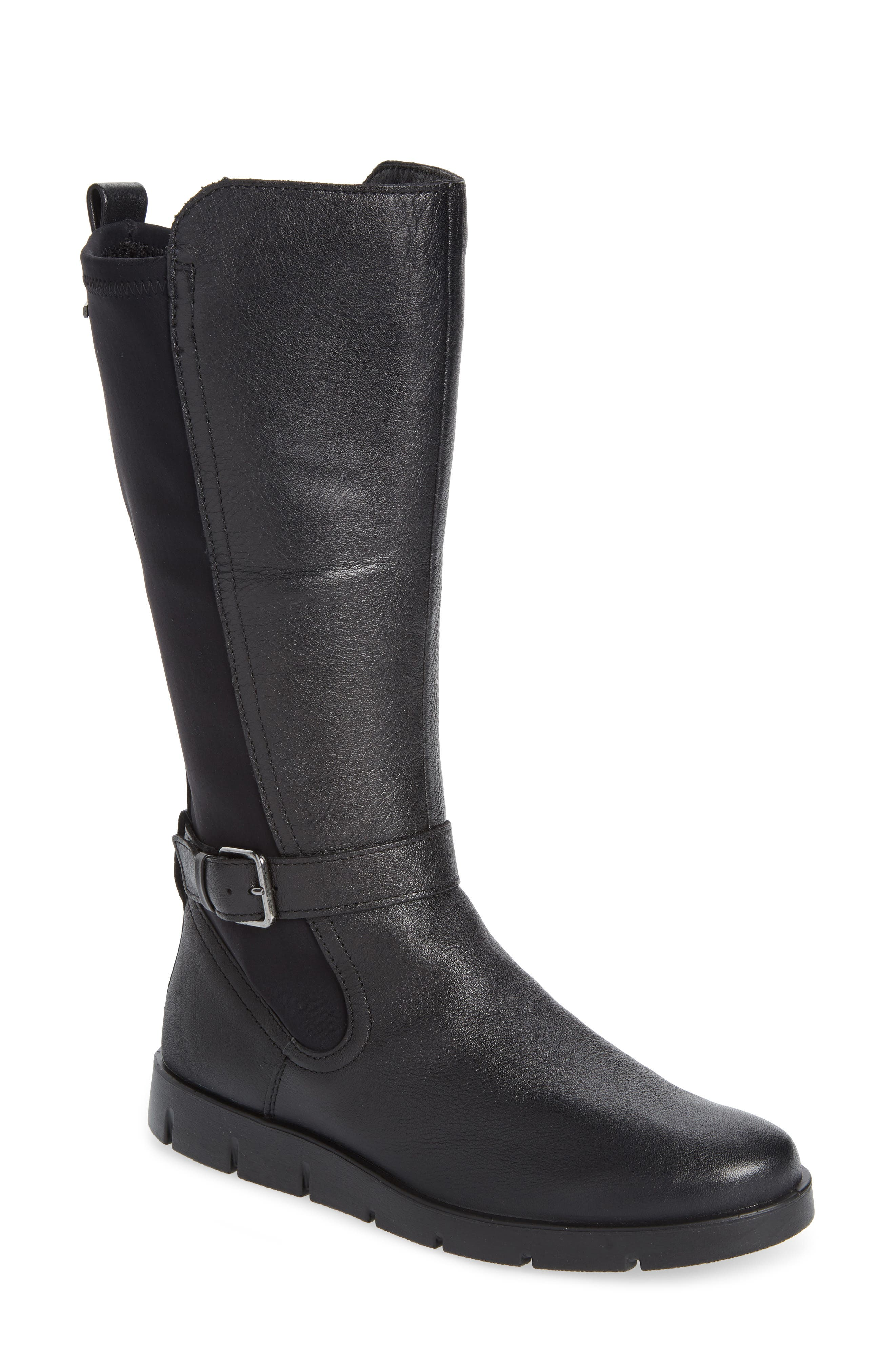 Bella Water Resistant Tall Boot,                             Main thumbnail 1, color,                             BLACK LEATHER