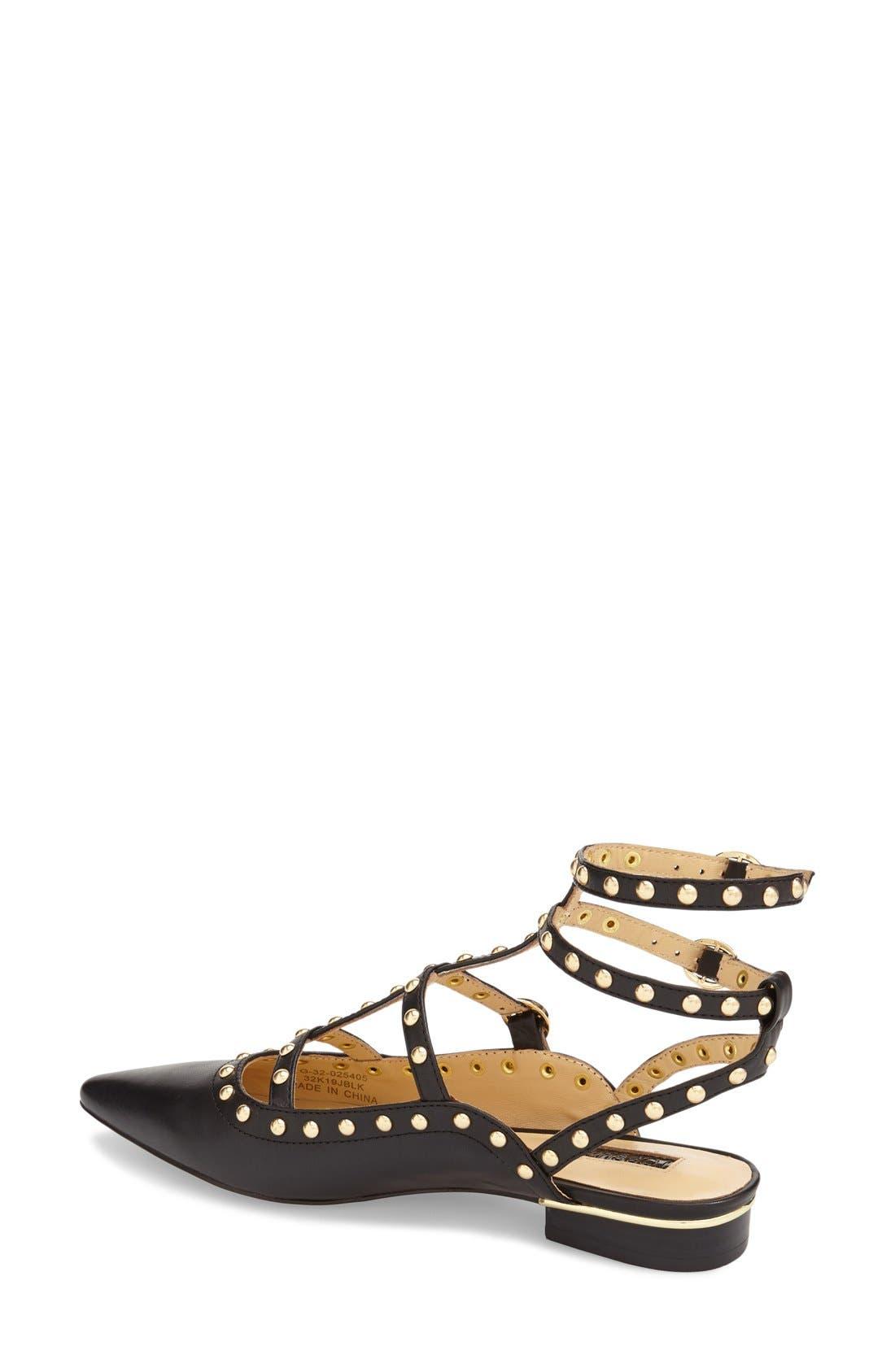 'Kate' Studded Cutout Sandal,                             Alternate thumbnail 3, color,                             001