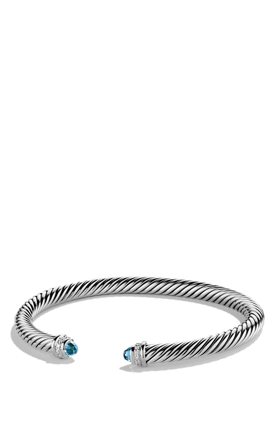 Cable Classics Bracelet with Semiprecious Stones & Diamonds, 5mm, Main, color, BLUE TOPAZ