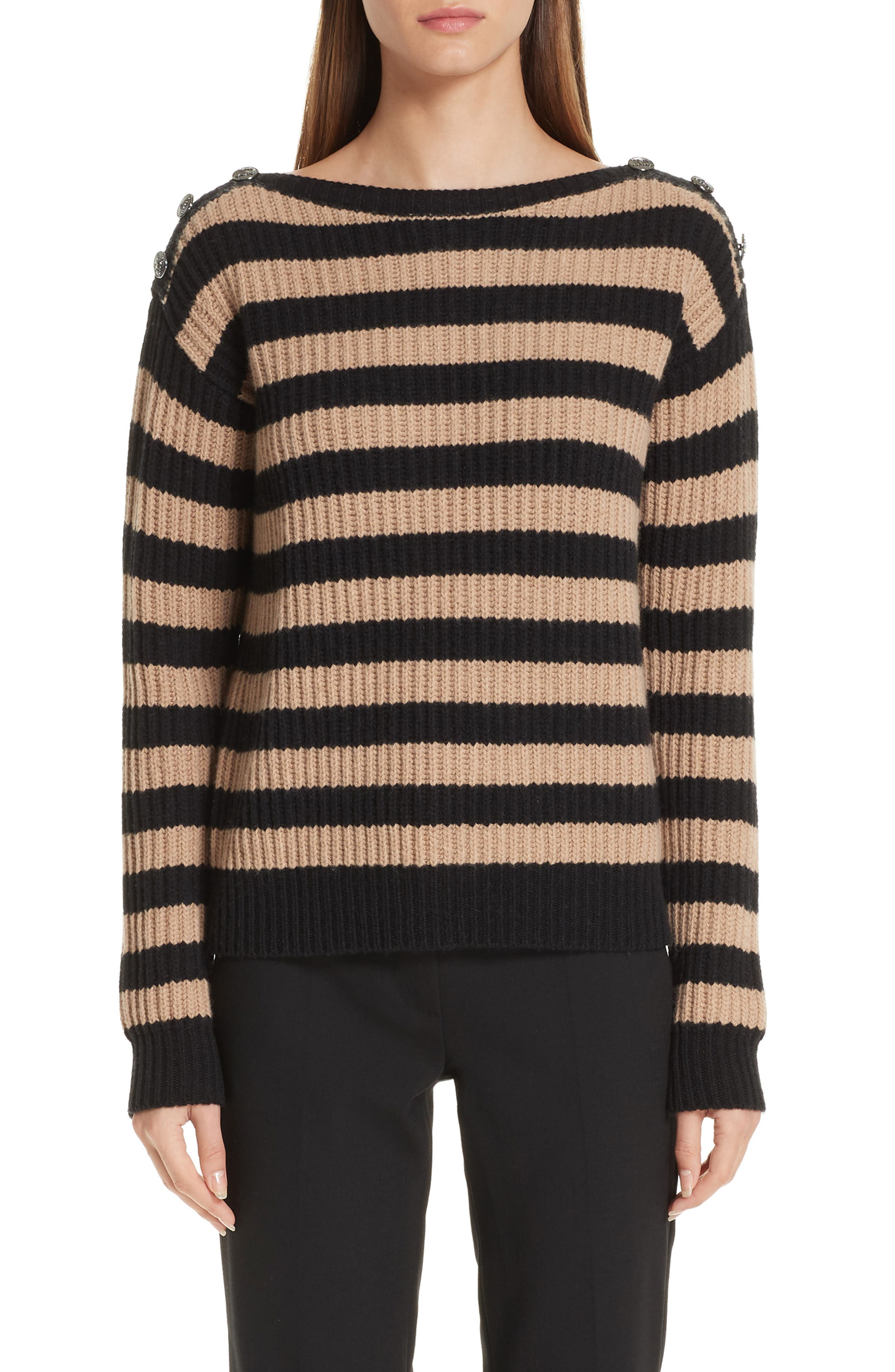 Salpa Stripe Wool & Cashmere Pullover,                             Main thumbnail 1, color,                             STRIPED CAMEL