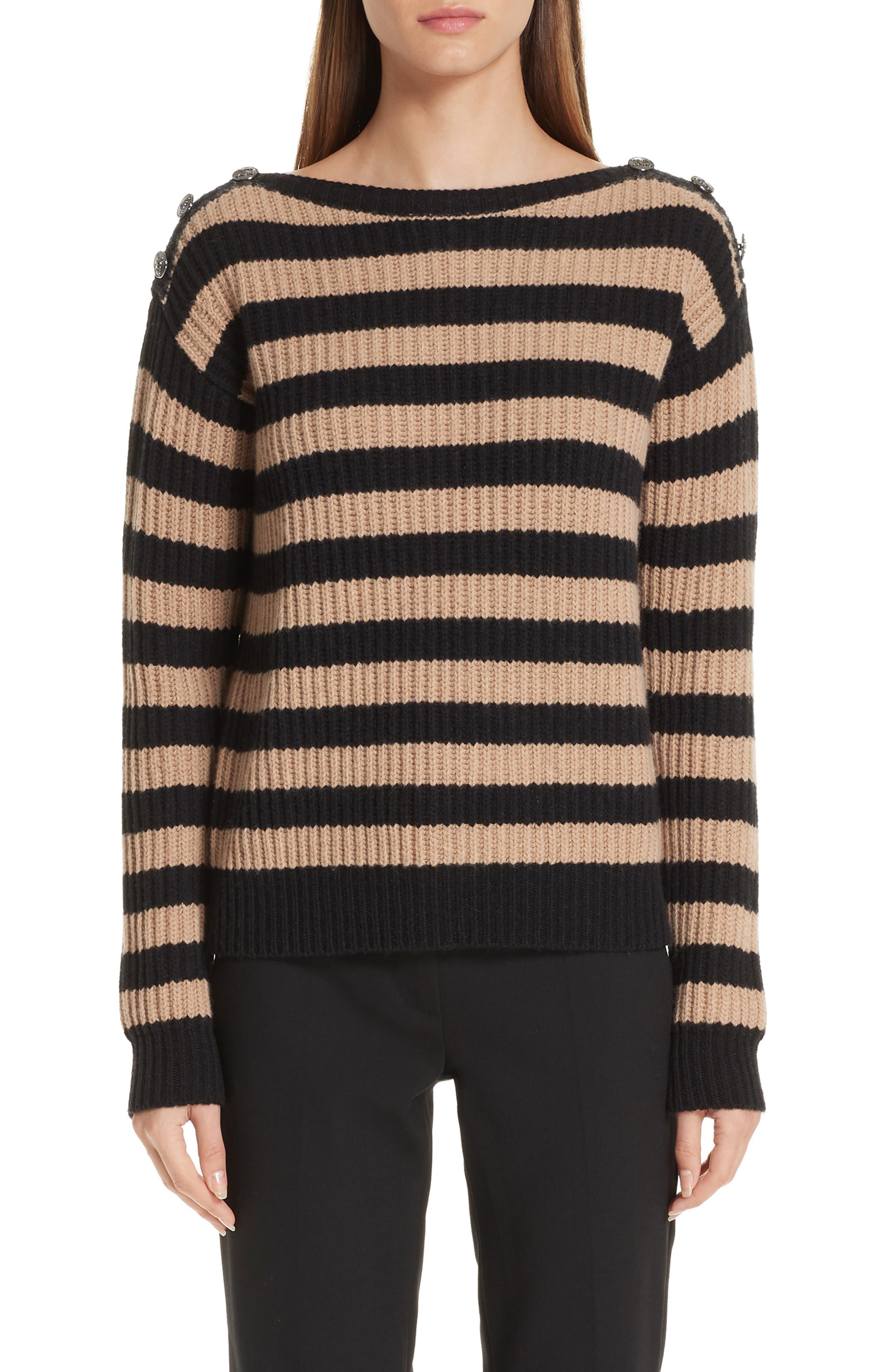 Salpa Stripe Wool & Cashmere Pullover, Main, color, STRIPED CAMEL
