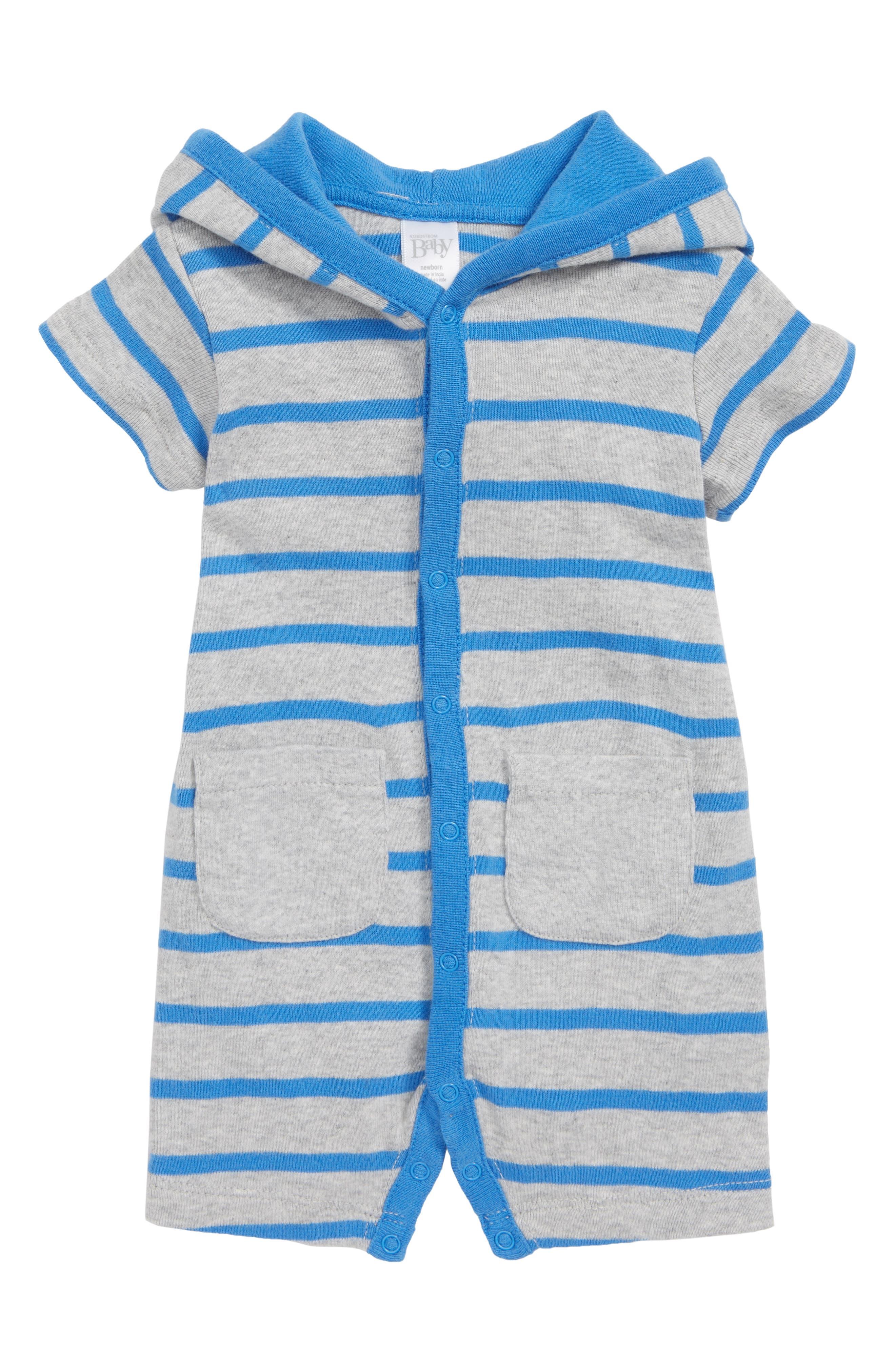 NORDSTROM BABY,                             Stripe Hooded Romper,                             Main thumbnail 1, color,                             451