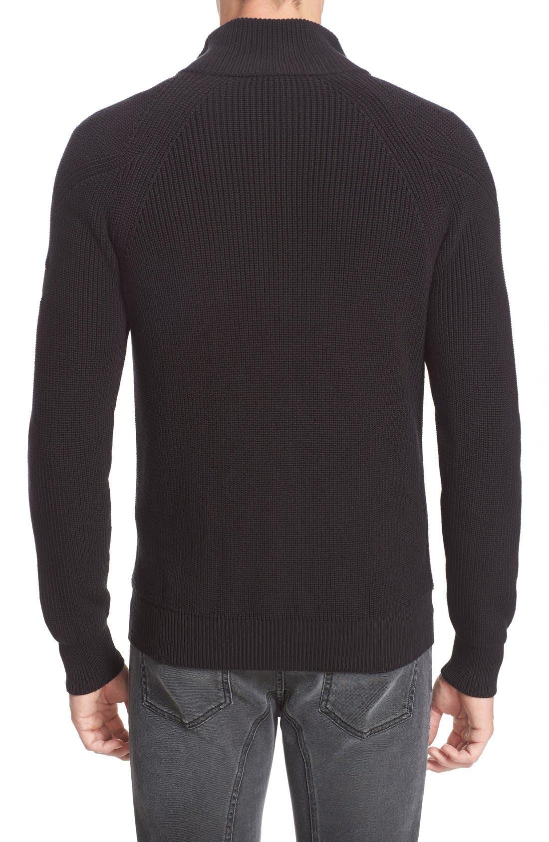 Parkgate Zip Front Mock Neck Sweater,                             Alternate thumbnail 2, color,                             001