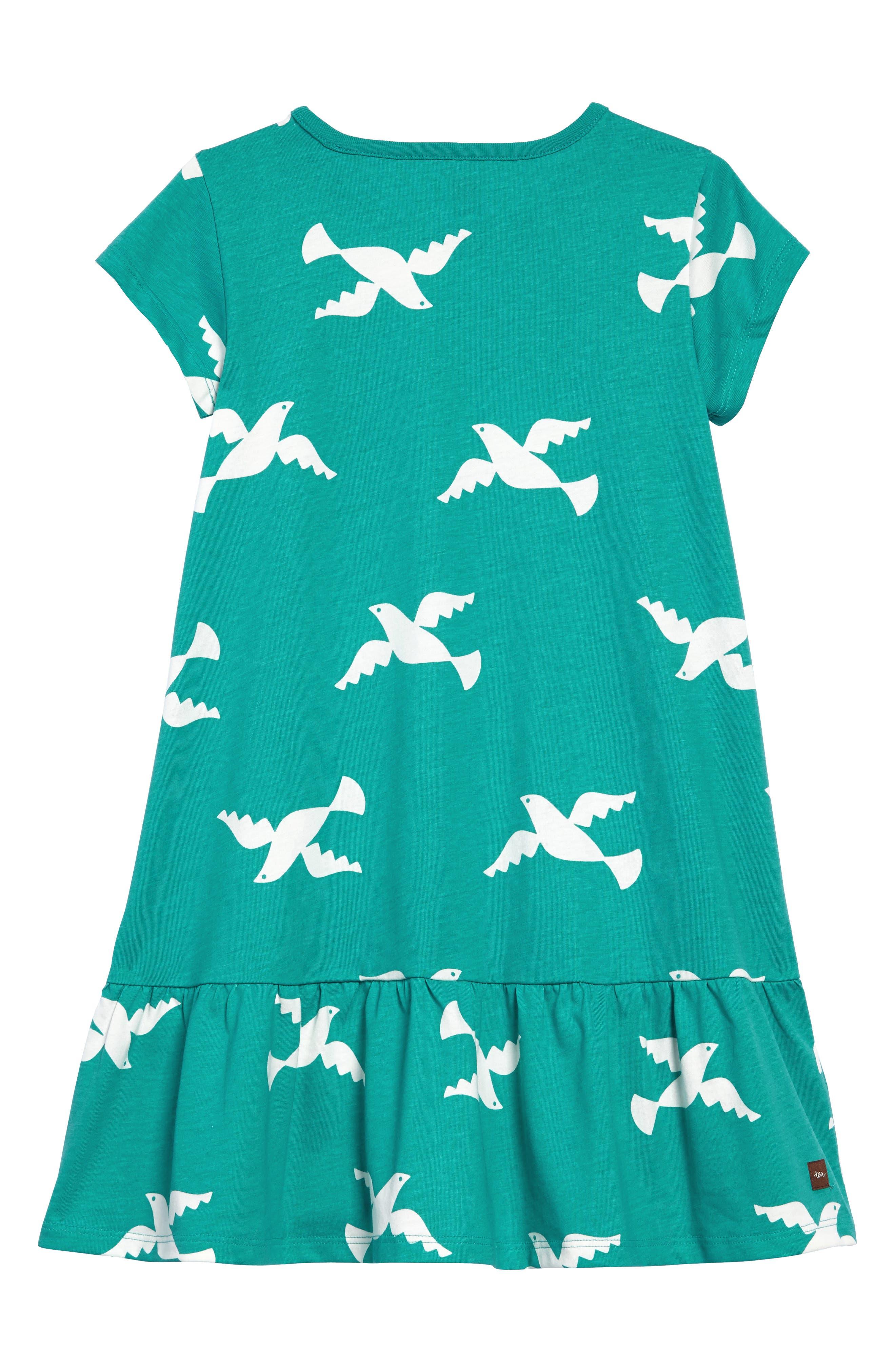 Birds in Flight Ruffle Dress,                             Alternate thumbnail 2, color,                             401