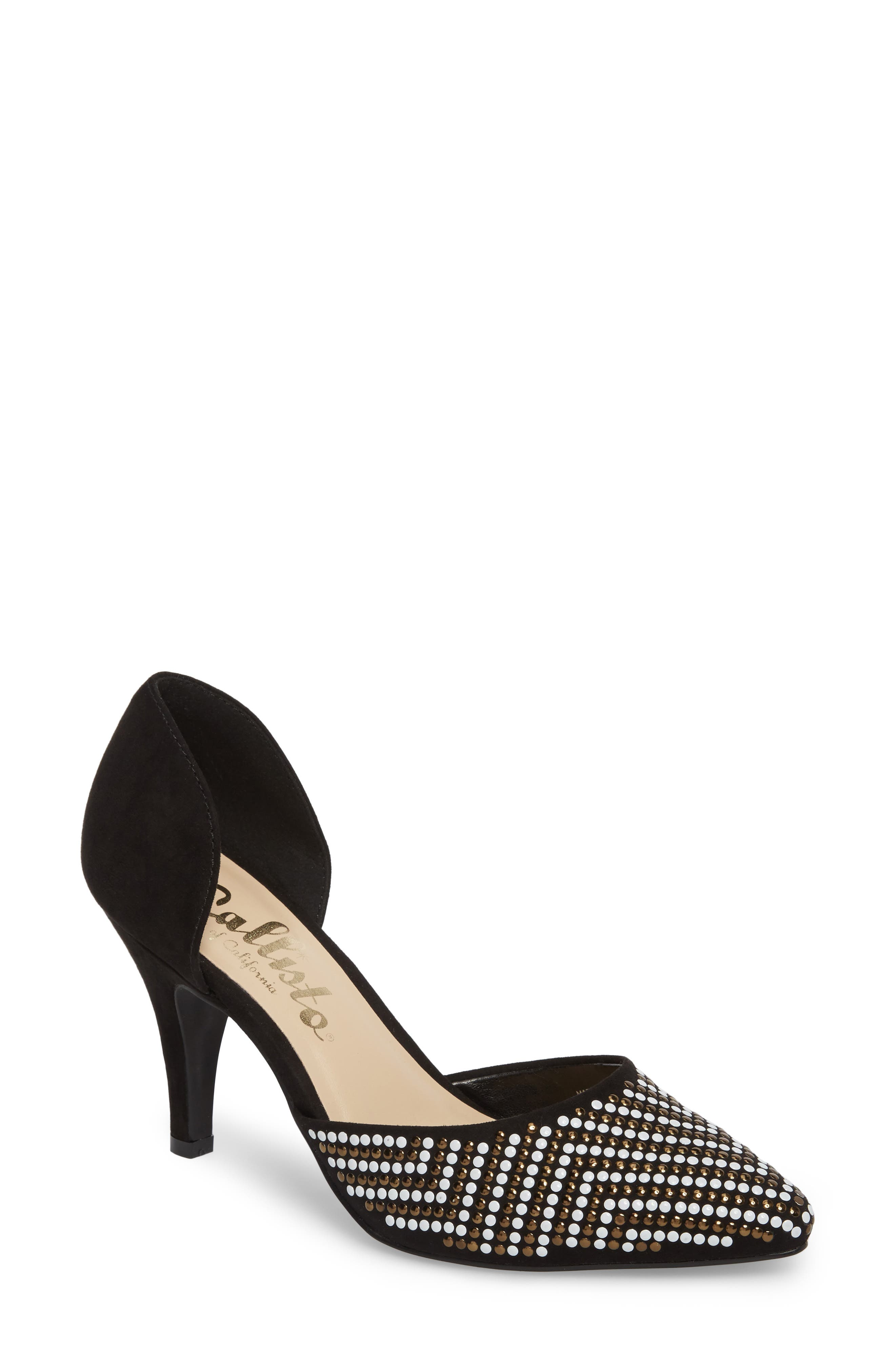 Mimosa Studded d'Orsay Pump,                             Main thumbnail 1, color,                             BLACK SUEDE