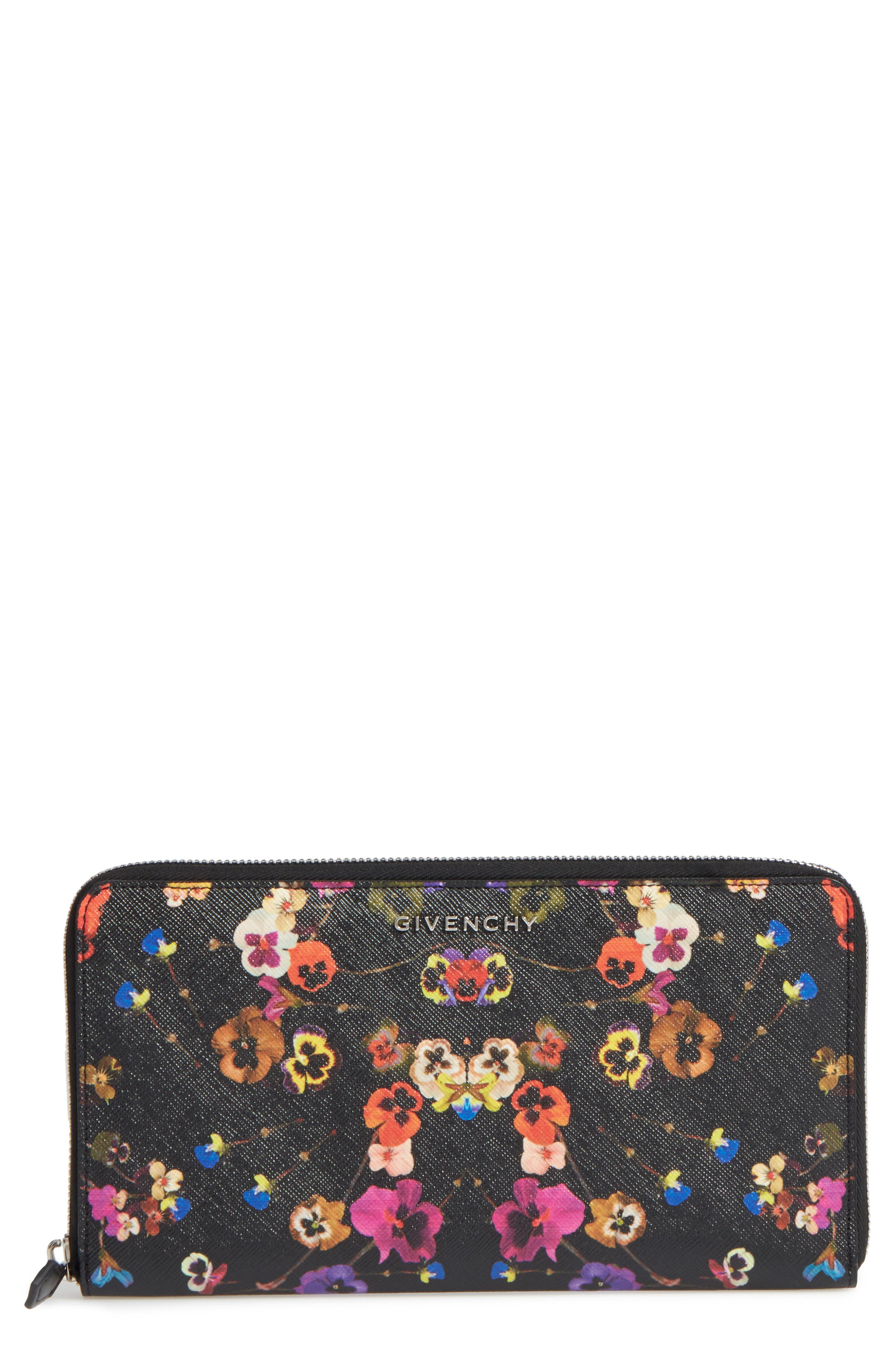 Night Pansy Zip Around Wallet,                         Main,                         color, 960