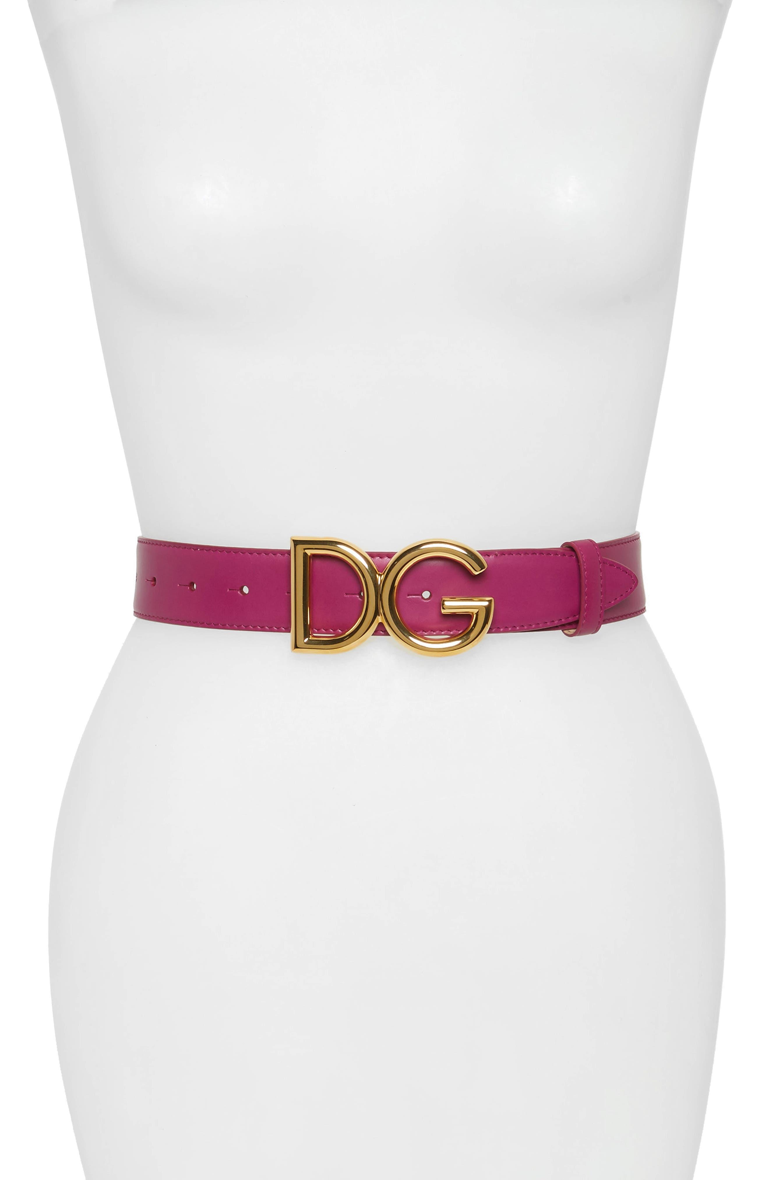 Dolce & gabbana Family Lux Metal Logo Buckle Leather Belt, Orchidea/ Ottone