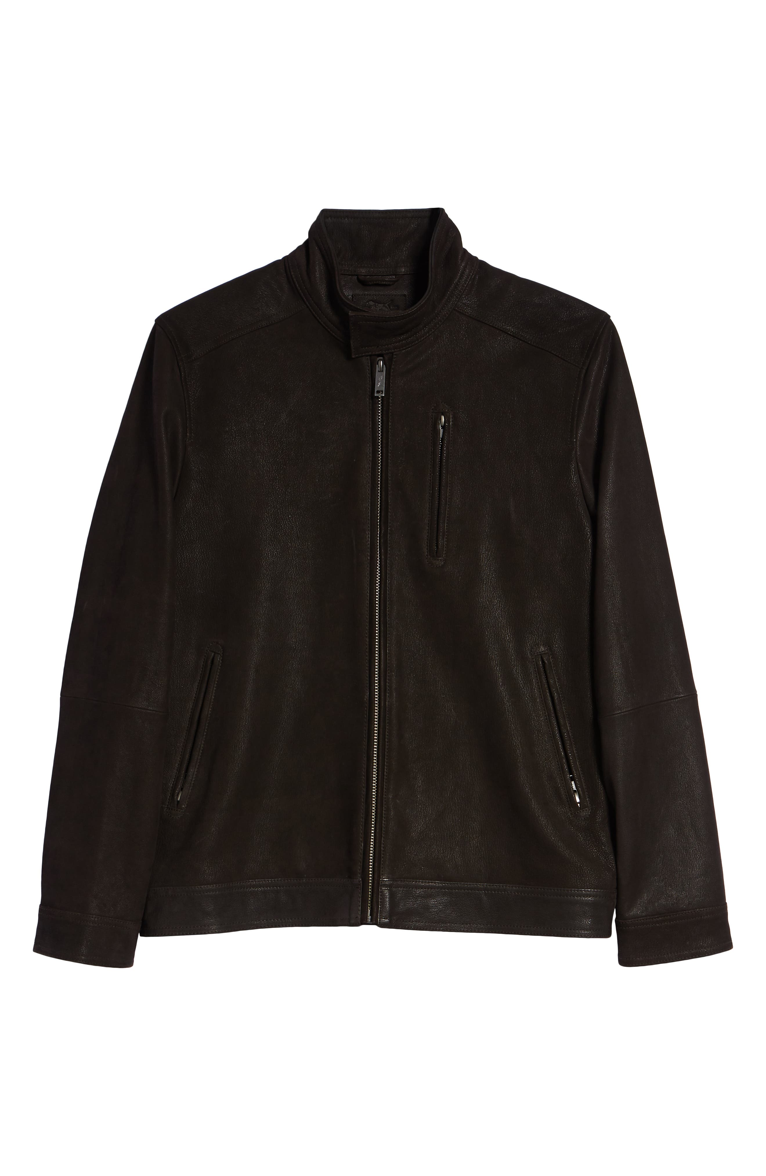 Westhaven Distressed Leather Bomber Jacket,                             Alternate thumbnail 5, color,                             CHOCOLATE