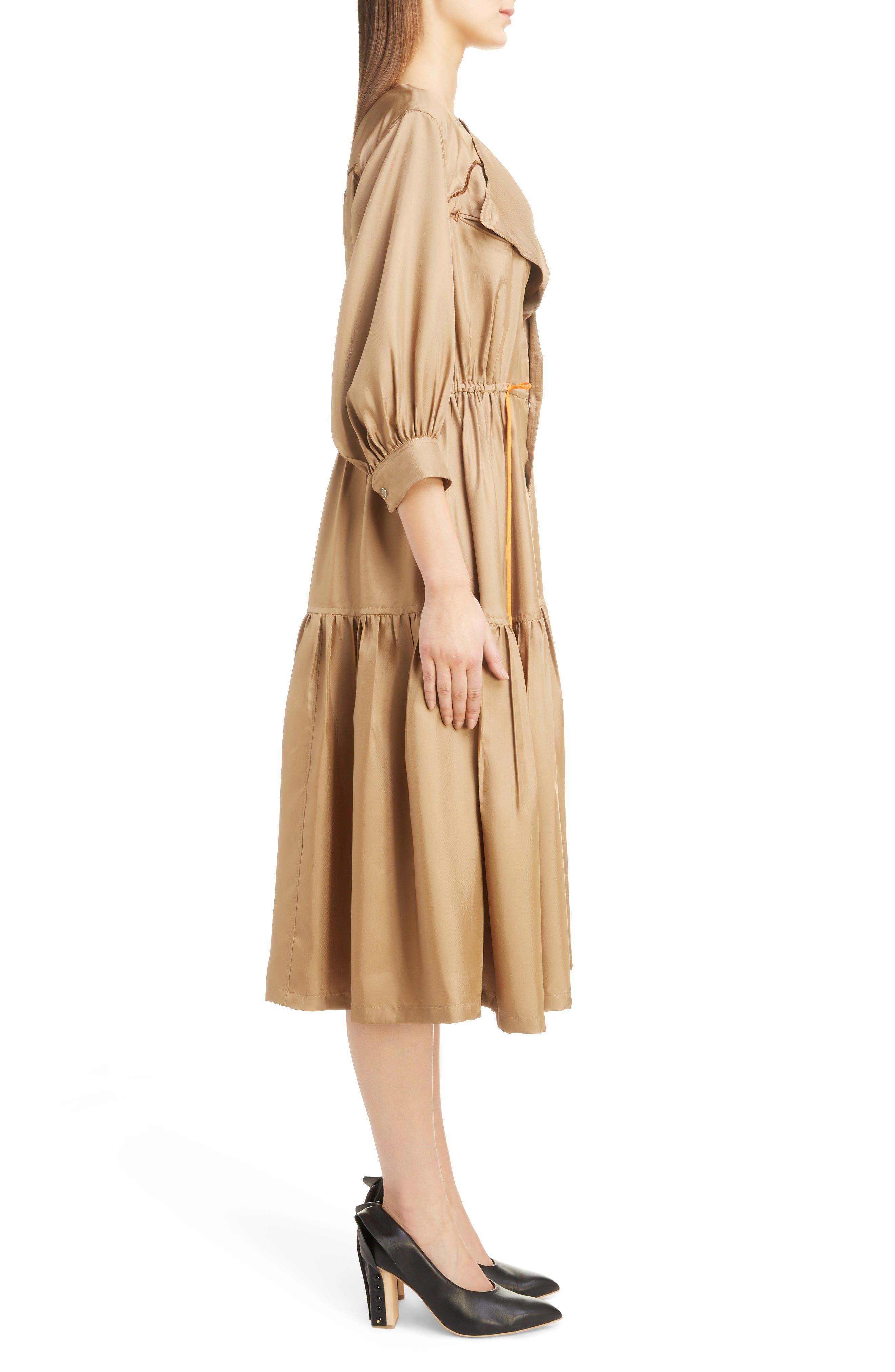 Twill Dress,                             Alternate thumbnail 3, color,                             BEIGE