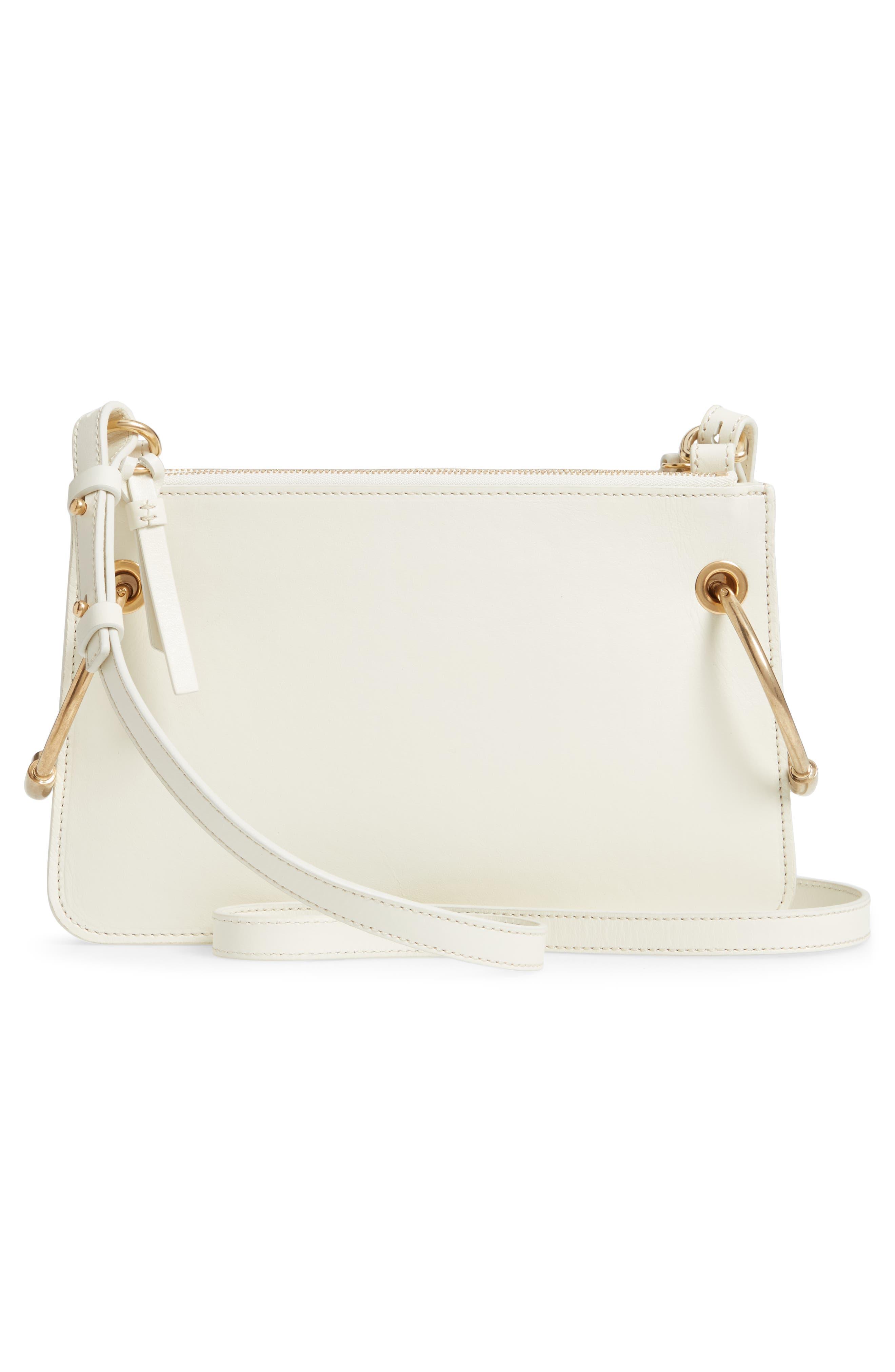 CHLOÉ,                             Small Roy Leather Shoulder Bag,                             Alternate thumbnail 3, color,                             NATURAL WHITE