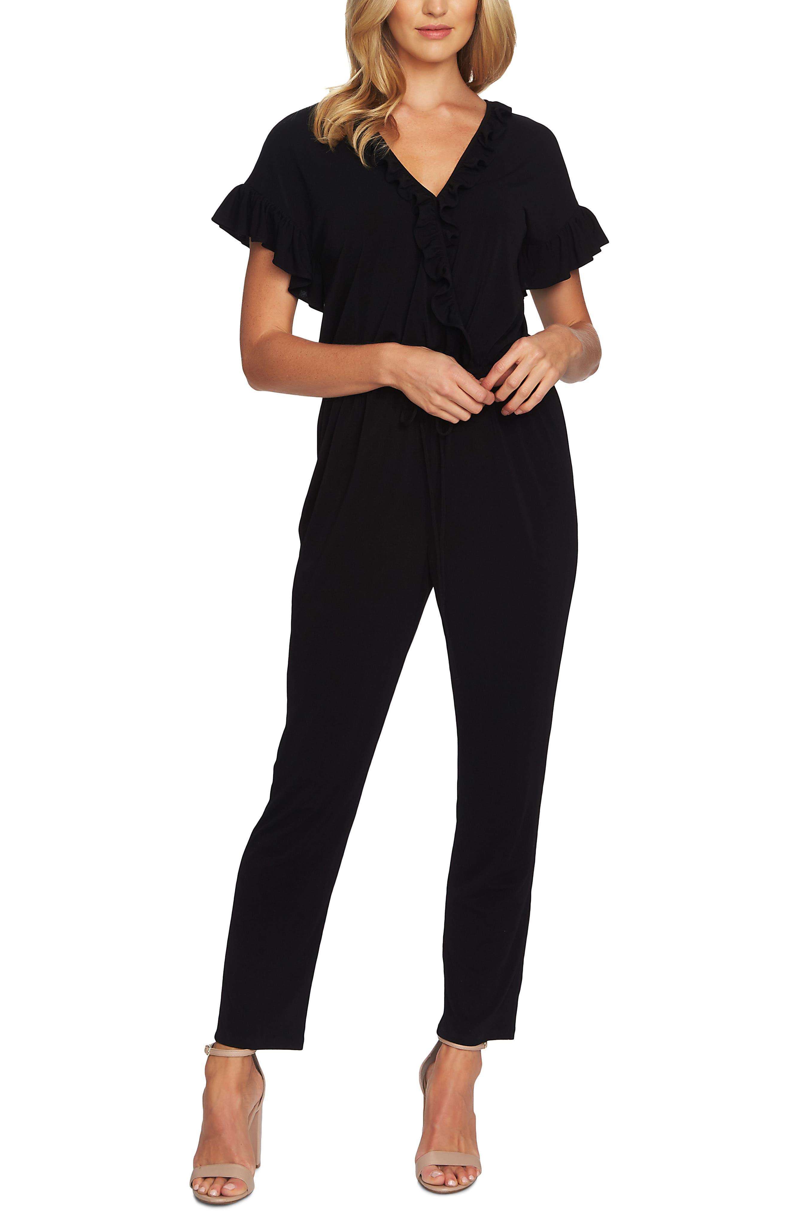 CECE Wrap Front Jumpsuit, Main, color, RICH BLACK