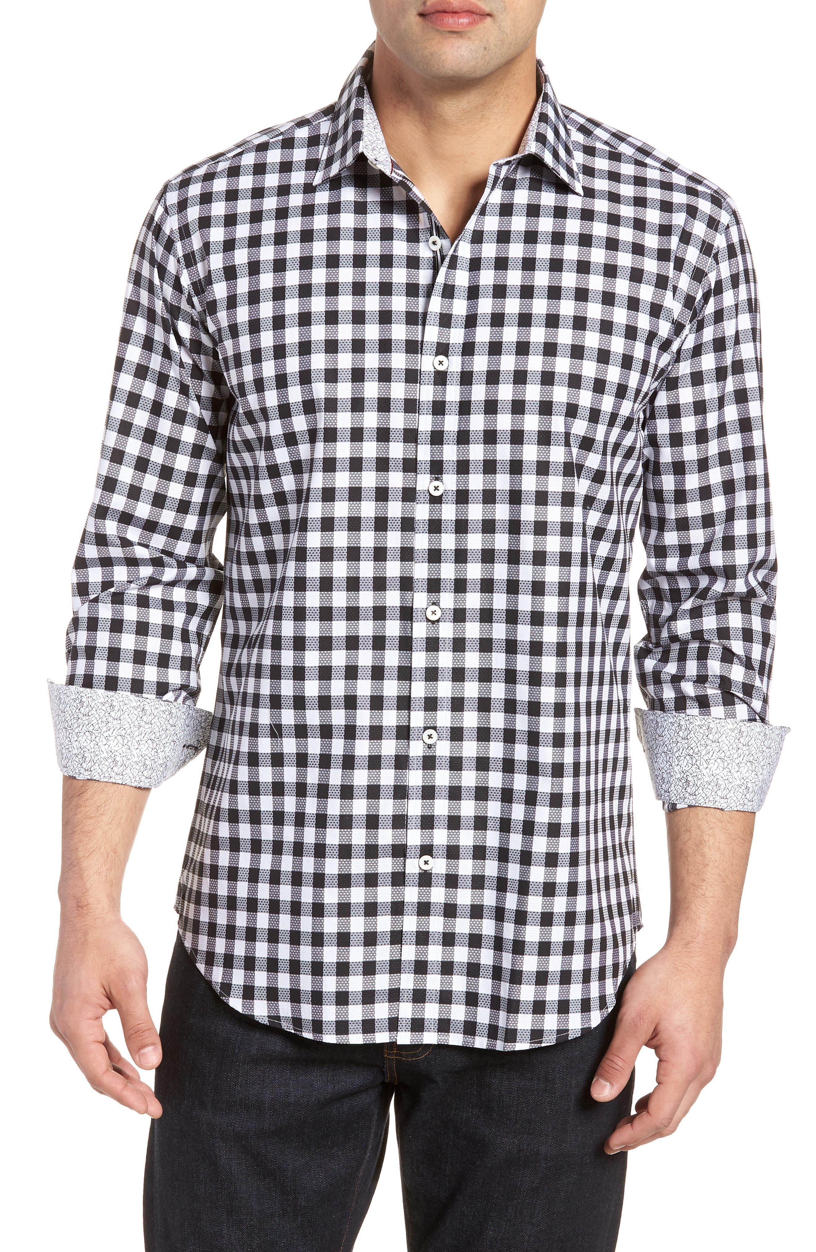 Shaped Fit Gingham Check Sport Shirt,                             Main thumbnail 1, color,                             BLACK