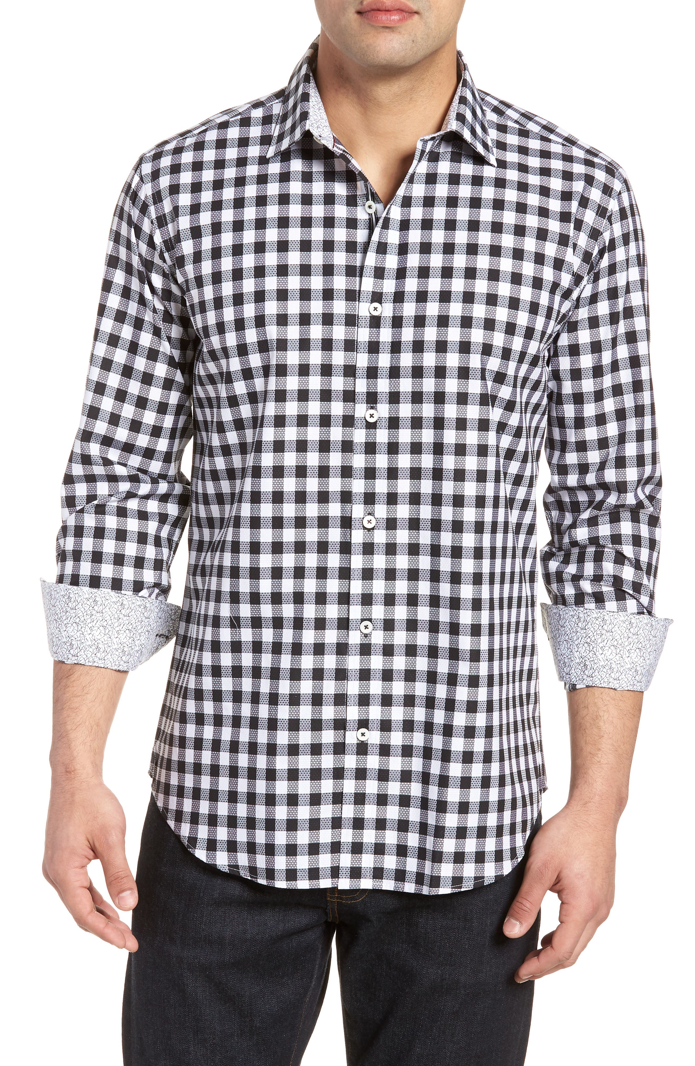 Shaped Fit Gingham Check Sport Shirt,                         Main,                         color, BLACK