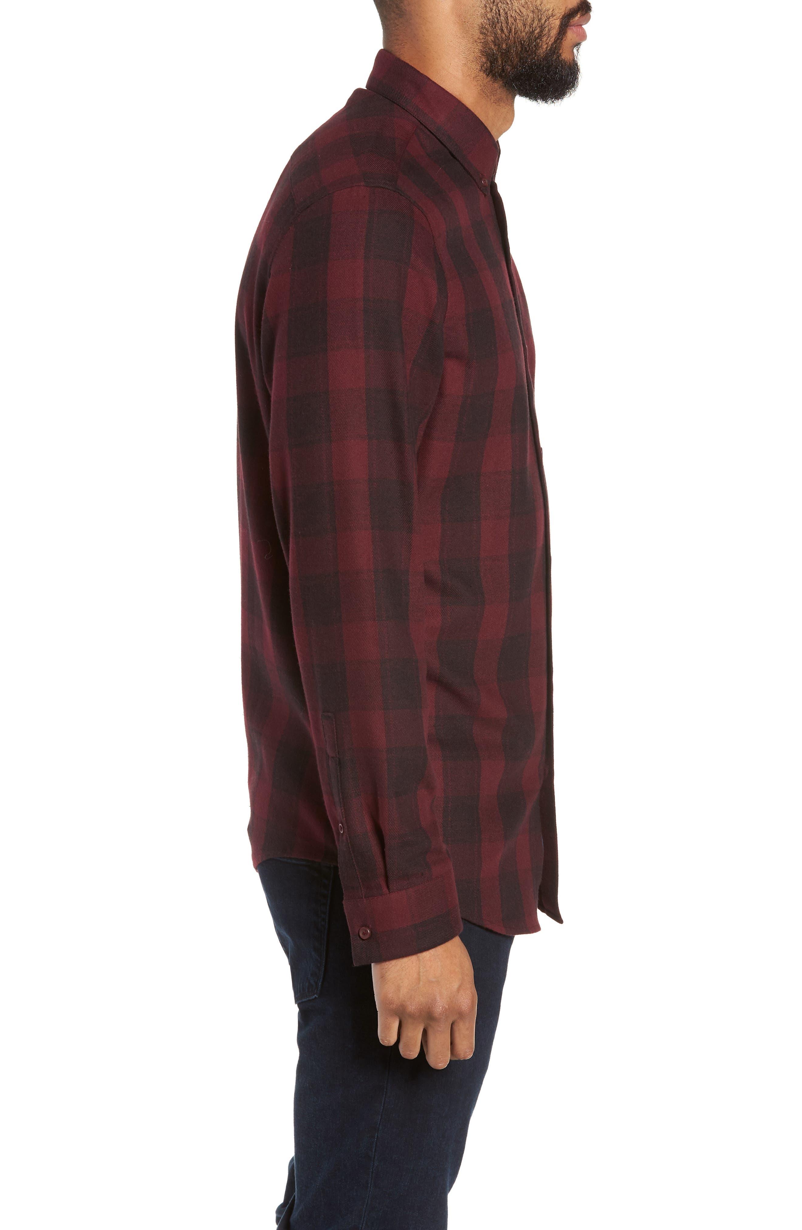Slim Fit Mini Collar Check Flannel Sport Shirt,                             Alternate thumbnail 4, color,                             930
