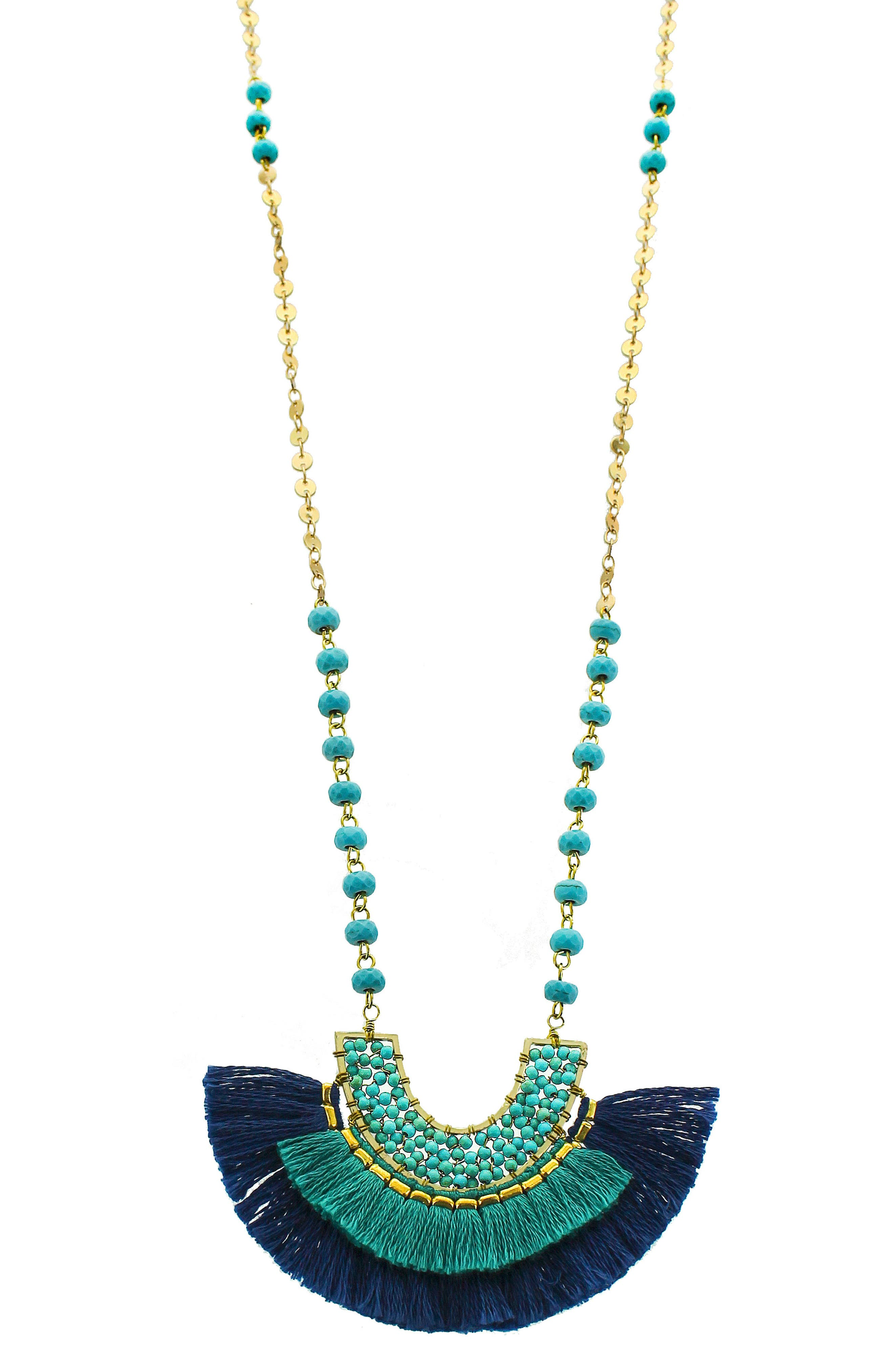 Fringe Pendant Necklace,                             Main thumbnail 1, color,                             NAVY/ TEAL