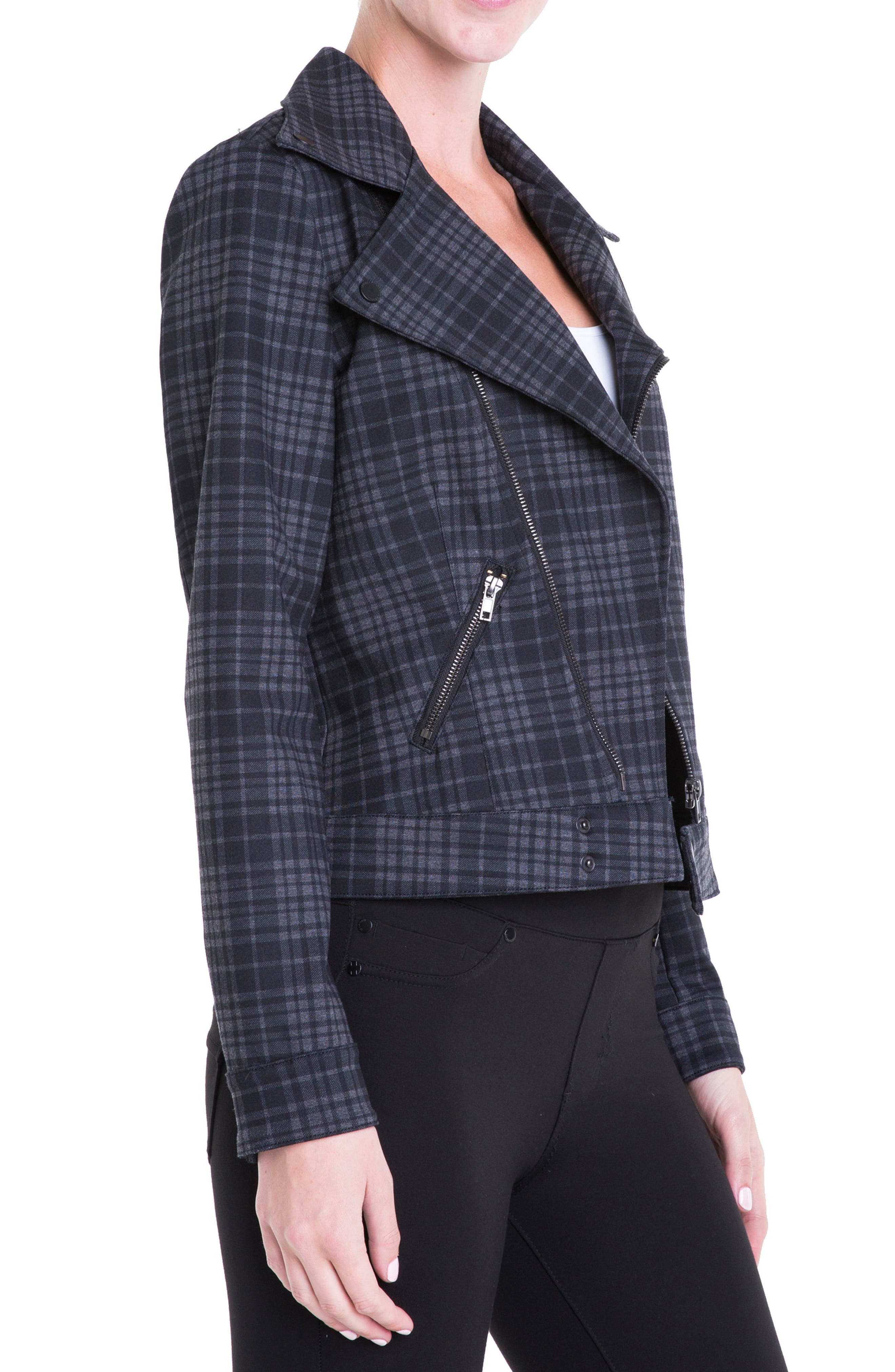 Plaid Moto Jacket,                             Alternate thumbnail 4, color,                             020