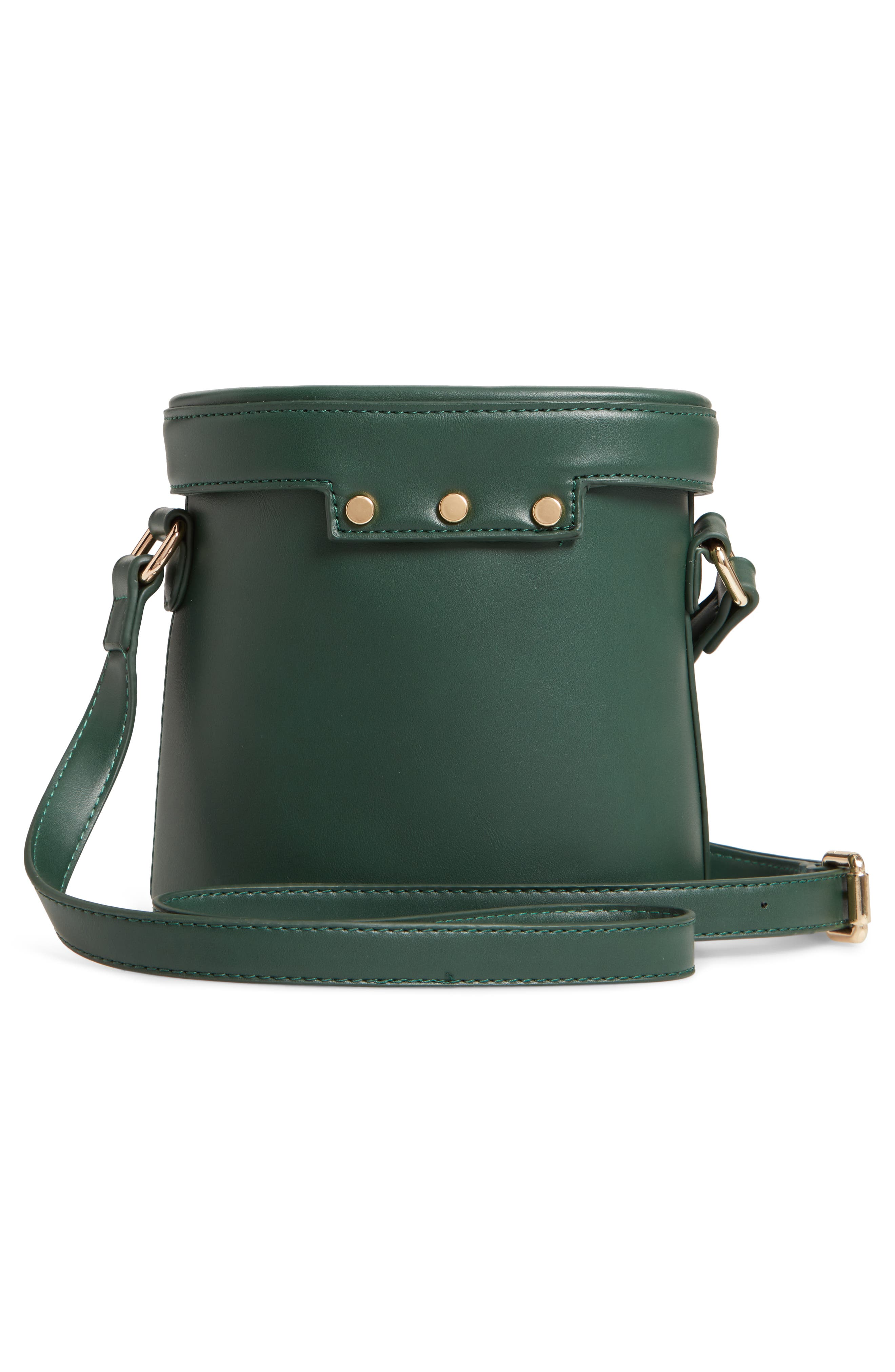 Faux Leather Bucket Bag,                             Alternate thumbnail 3, color,                             GREEN
