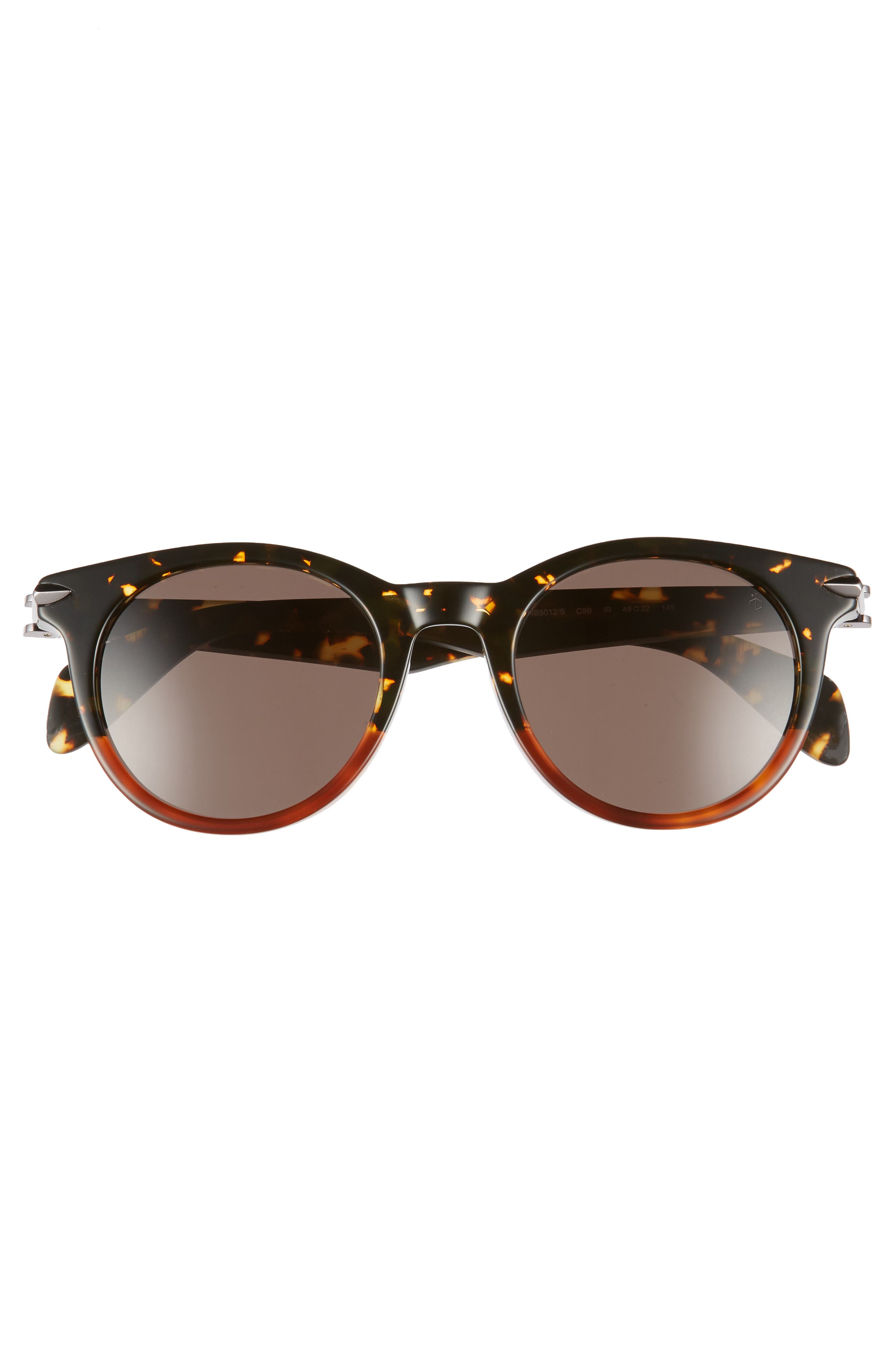 49mm Round Sunglasses,                             Alternate thumbnail 3, color,                             BLACK/ HAVANA HONEY