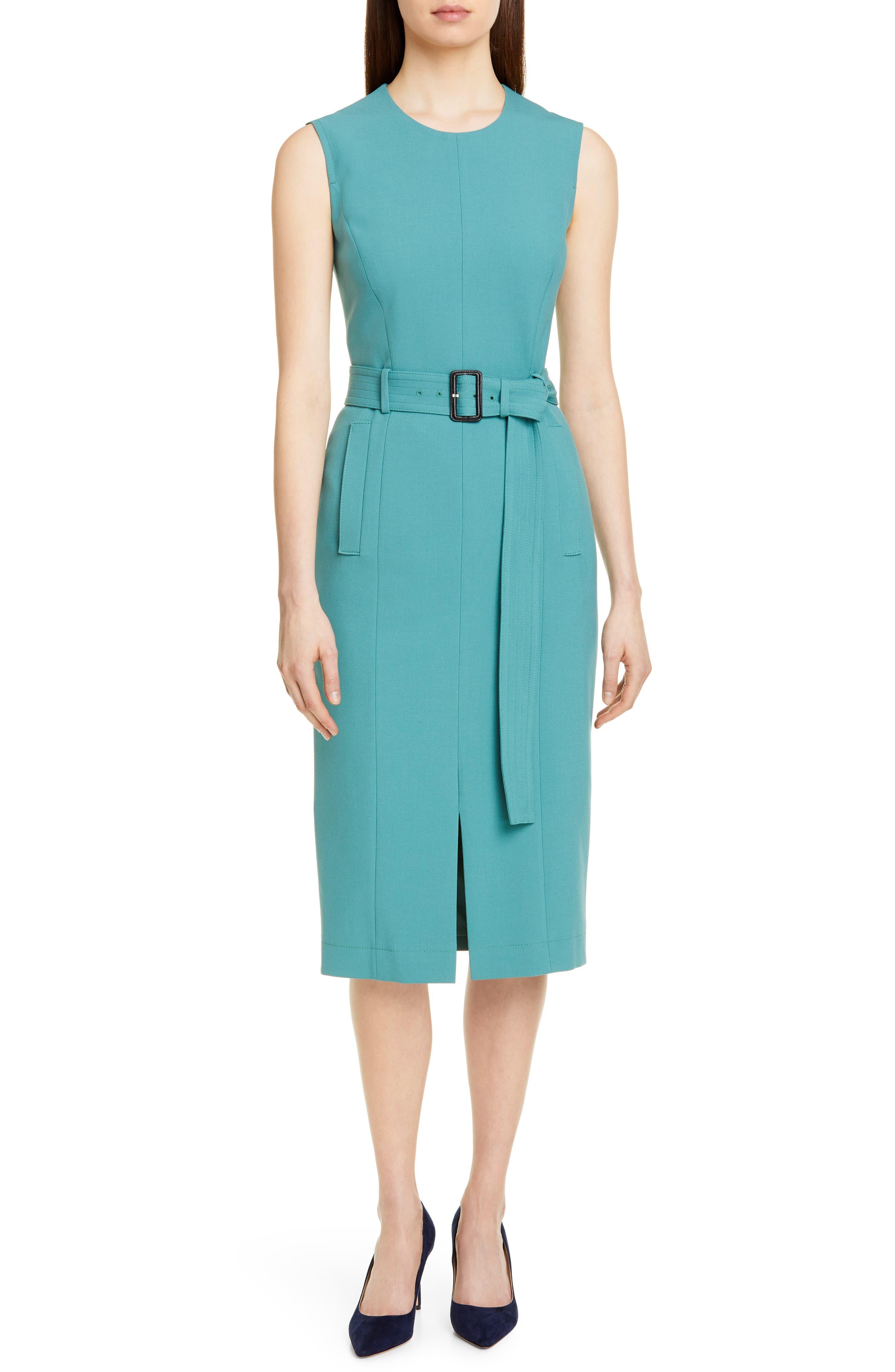 Boss Dadoria Belted Sheath Dress, Blue/green