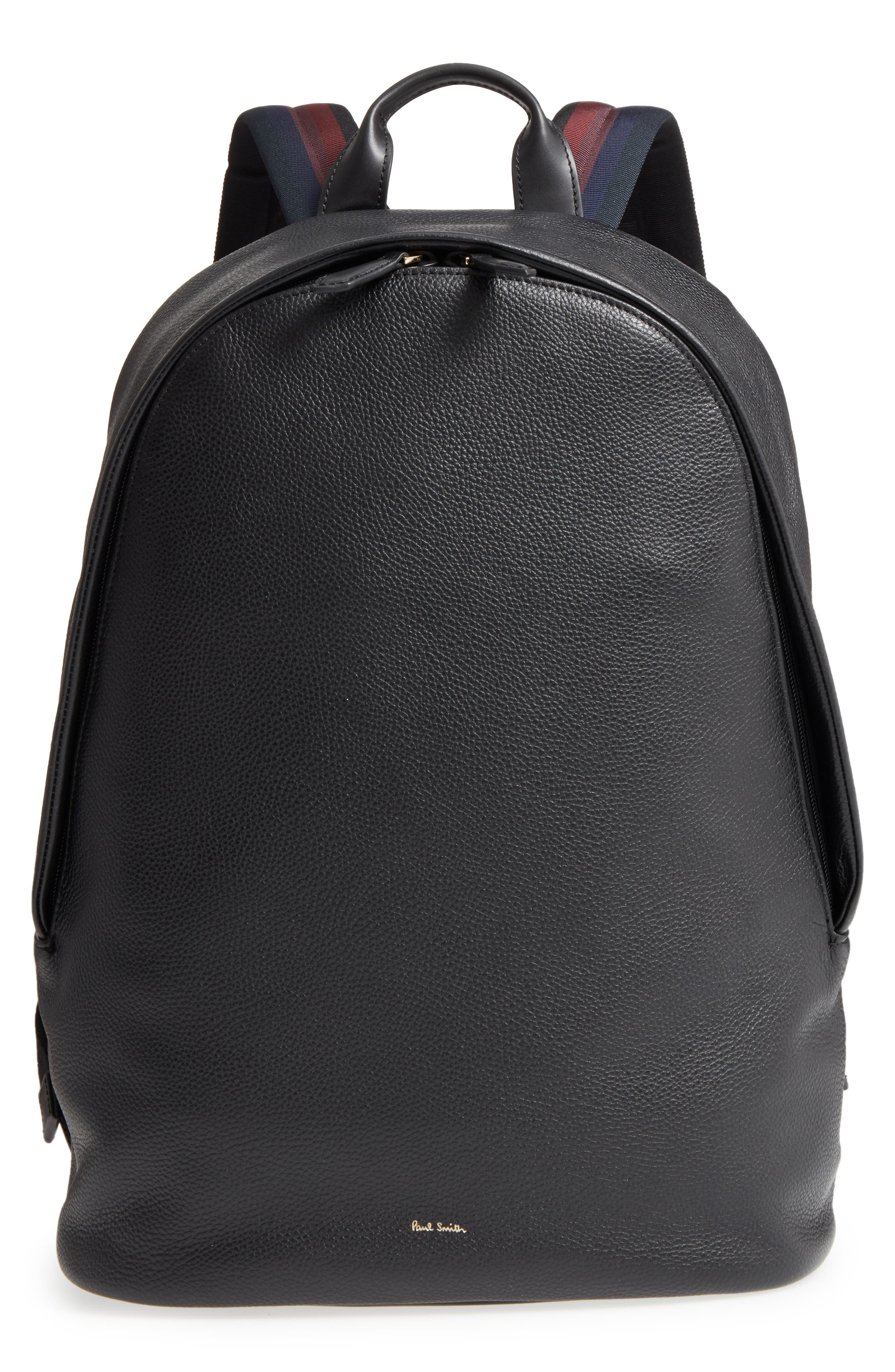 City Webbing Leather Backpack,                         Main,                         color, 001